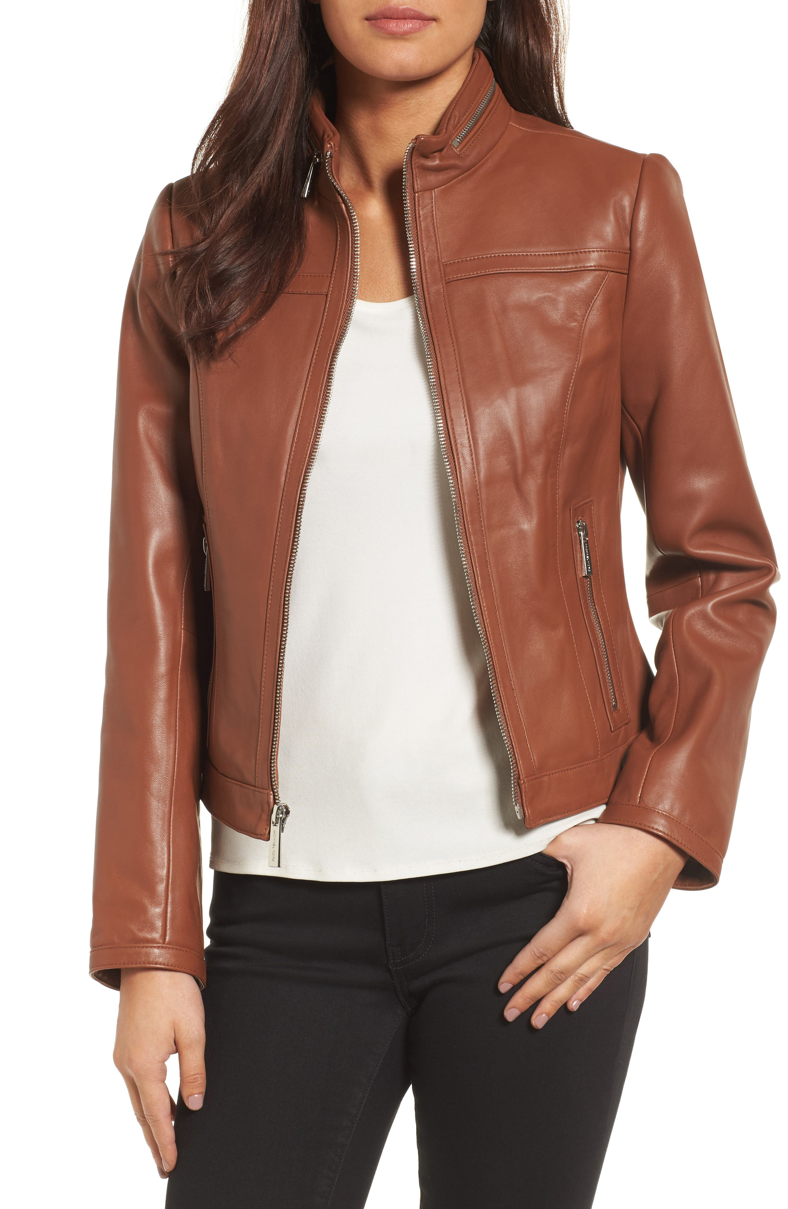 MICHAEL Michael Kors Leather Racer Jacket