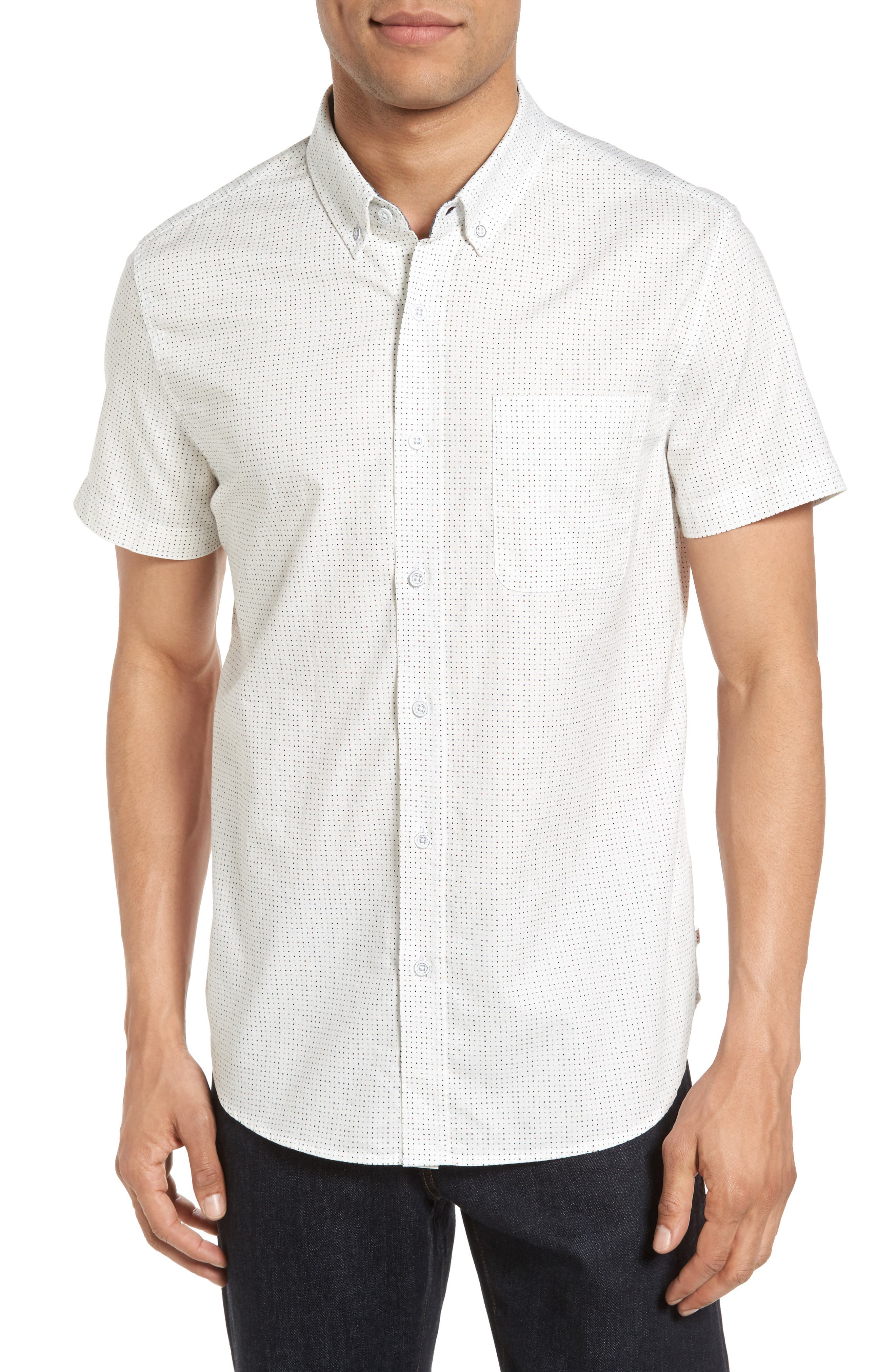 Nash Slim Fit Cotton Sport Shirt,                         Main,                         color, True White/ Multi Dot