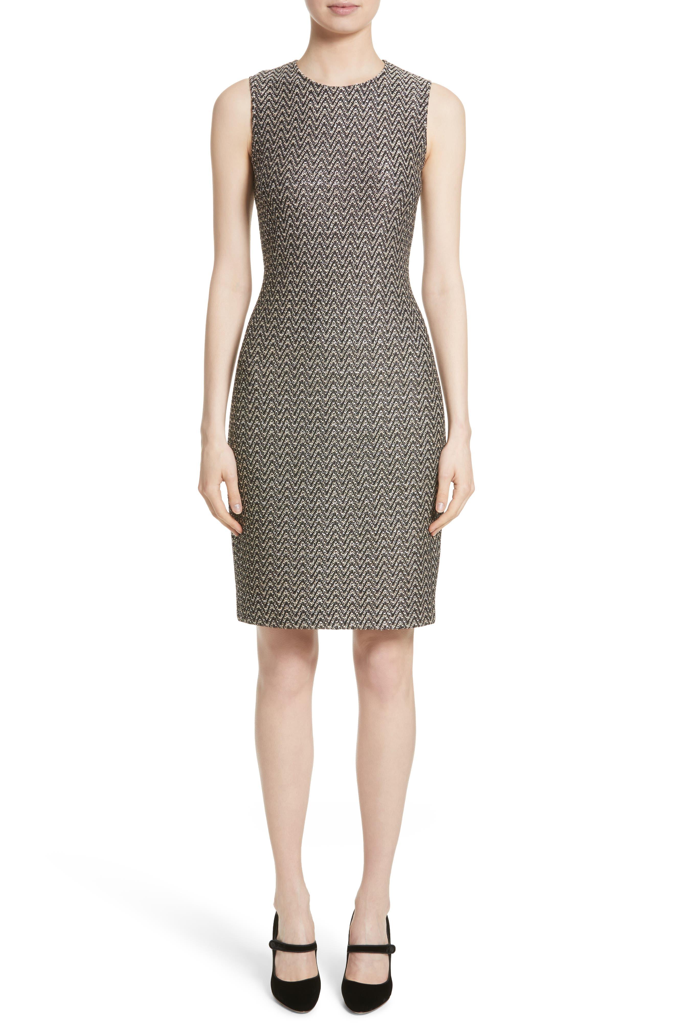ST. JOHN COLLECTION Aluna Speckled Chevron Tweed Knit Dress