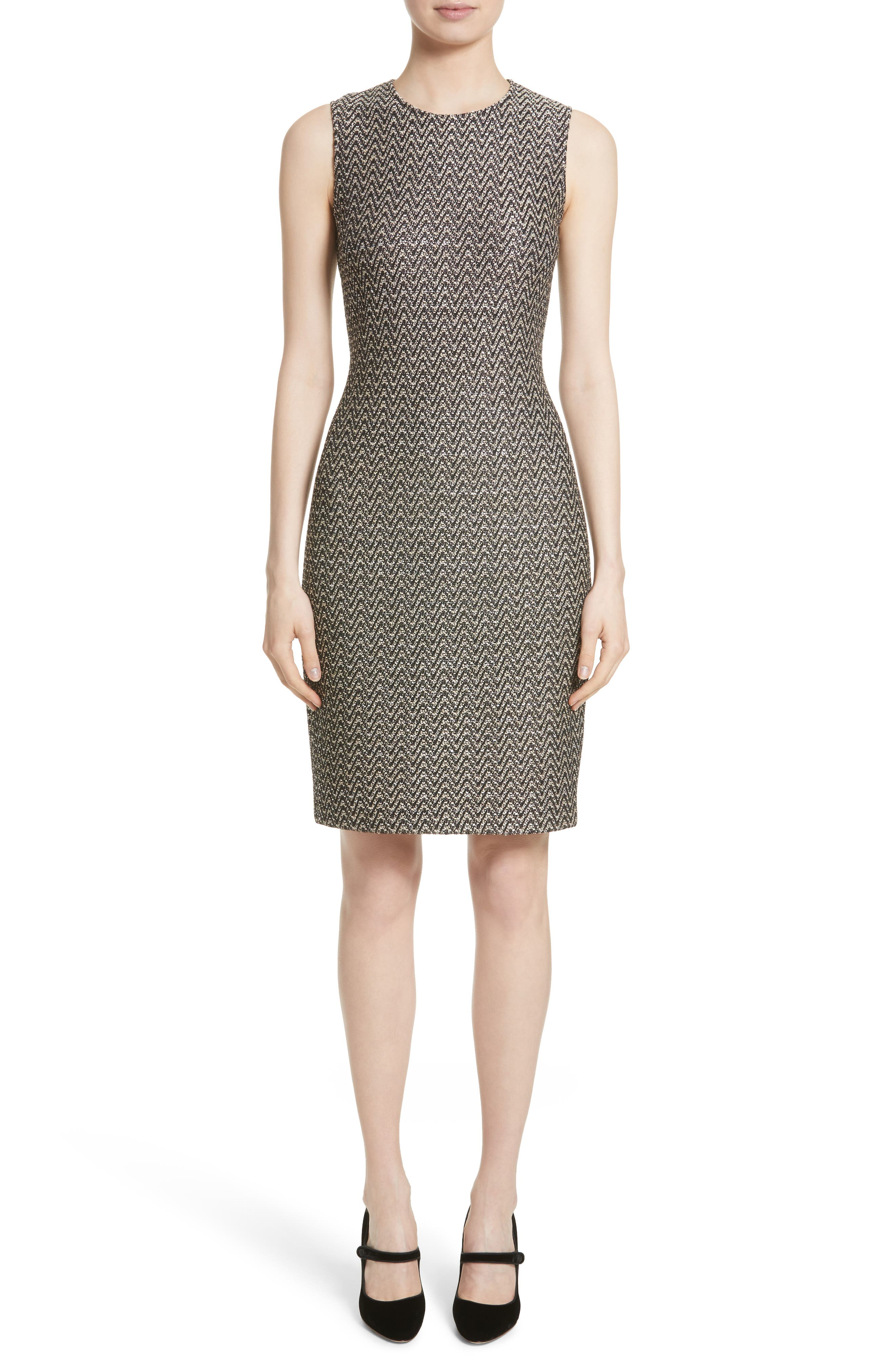 St. John Collection Aluna Speckled Chevron Tweed Knit Dress