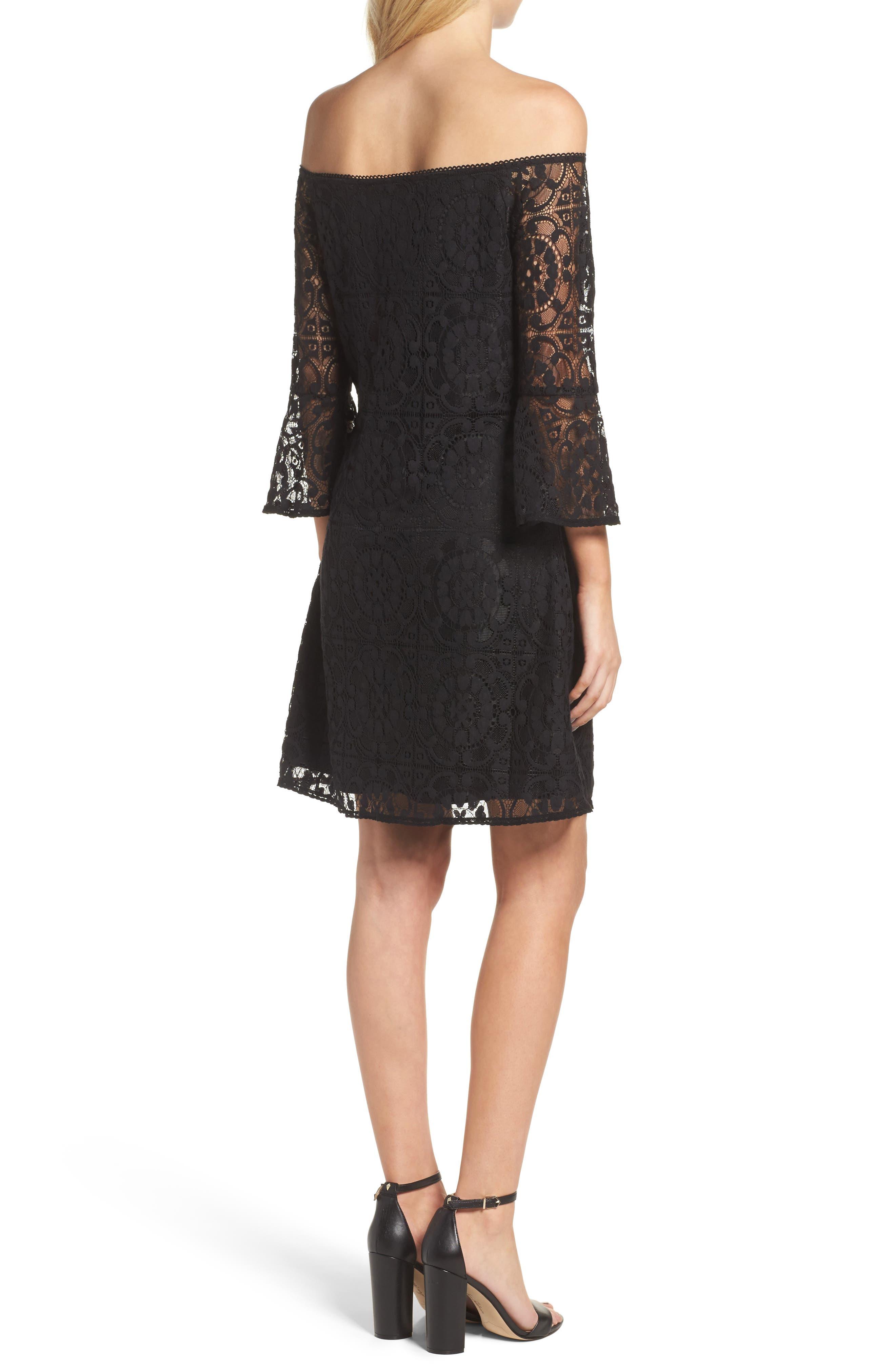 Lace A-Line Dress,                             Alternate thumbnail 2, color,                             Black
