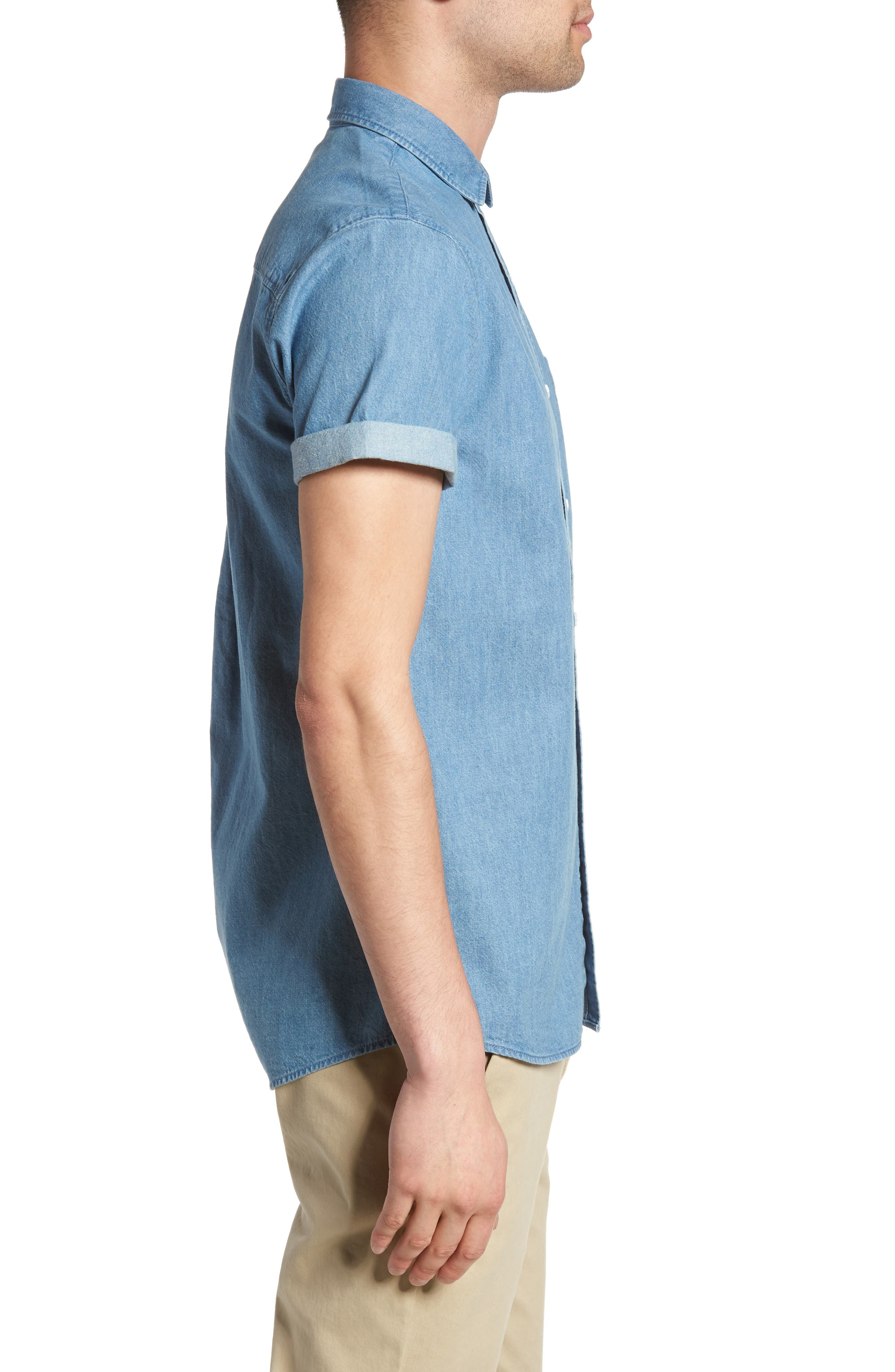 Washed Denim Shirt,                             Alternate thumbnail 3, color,                             Blue