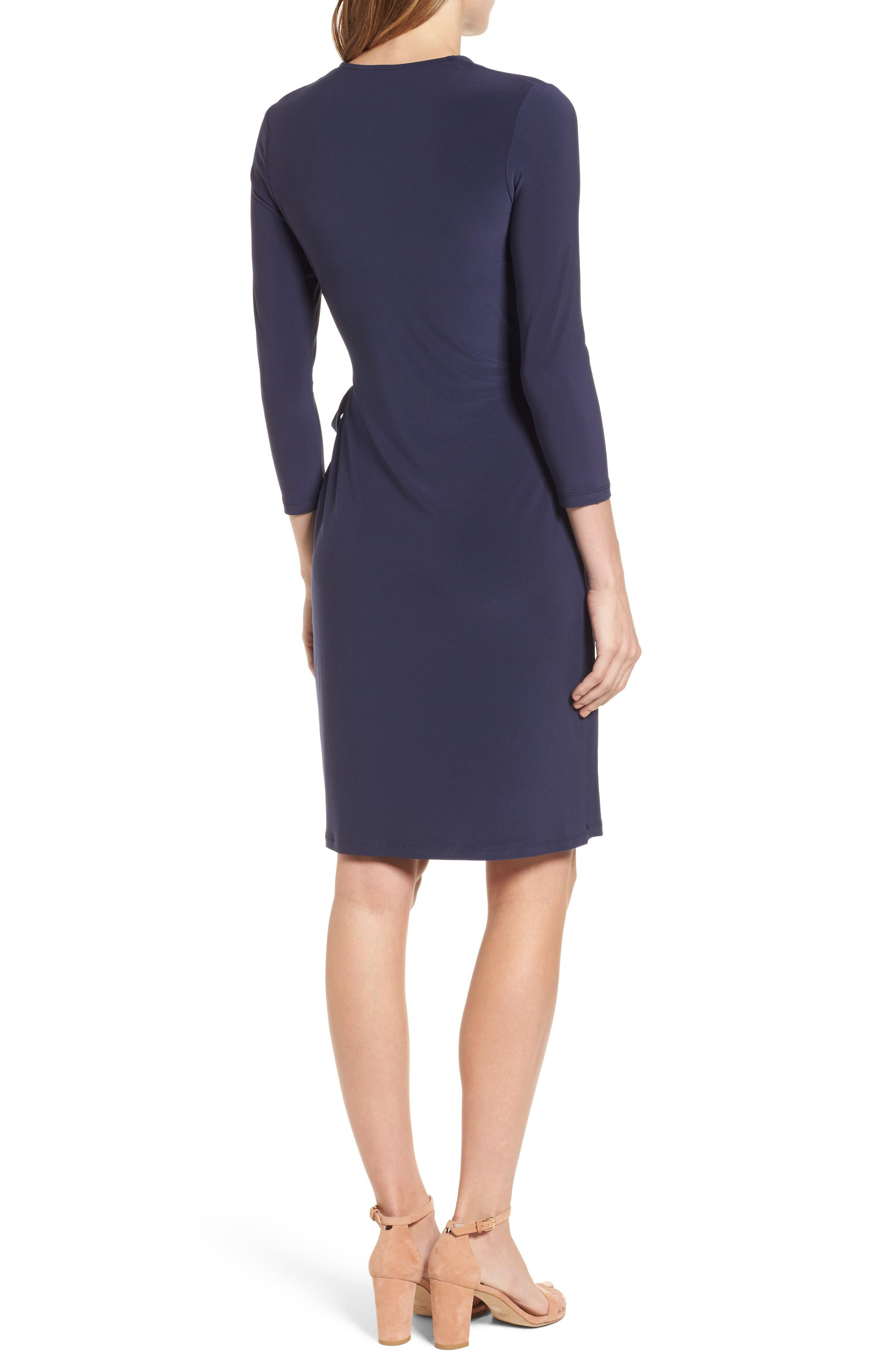 Jersey Faux Wrap Dress,                             Alternate thumbnail 2, color,                             Dark Indigo