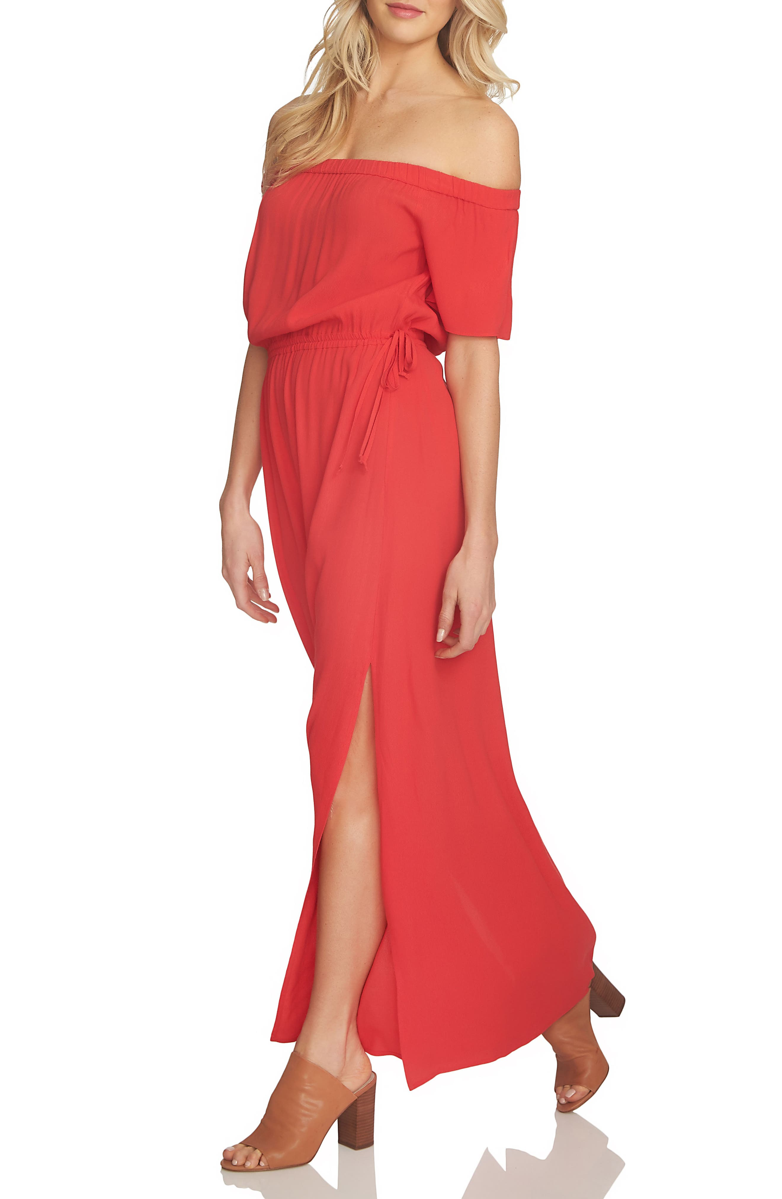 1.STATE Blouson Off the Shoulder Maxi Dress