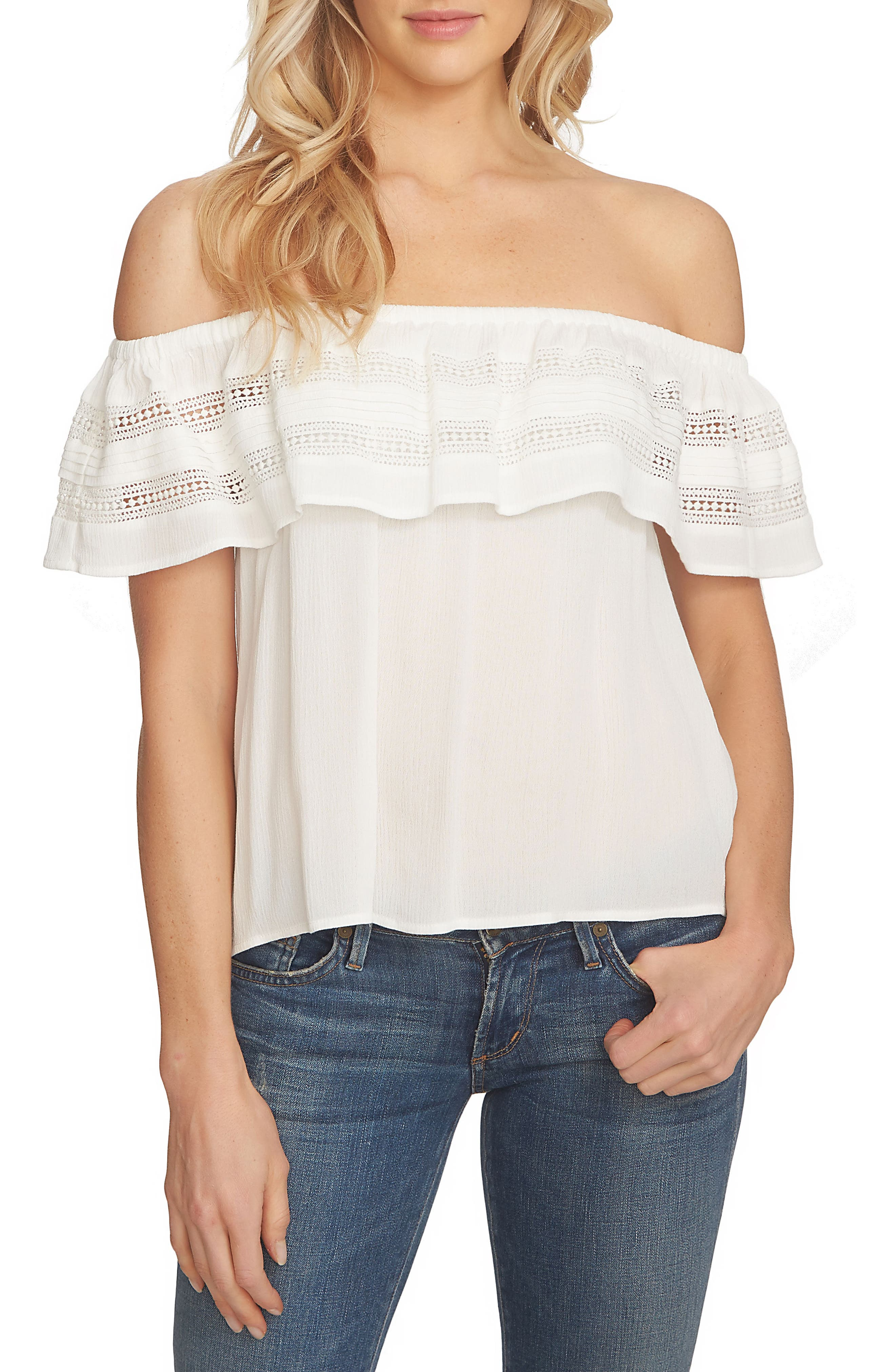 Ruffle Off the Shoulder Top,                         Main,                         color, Cloud