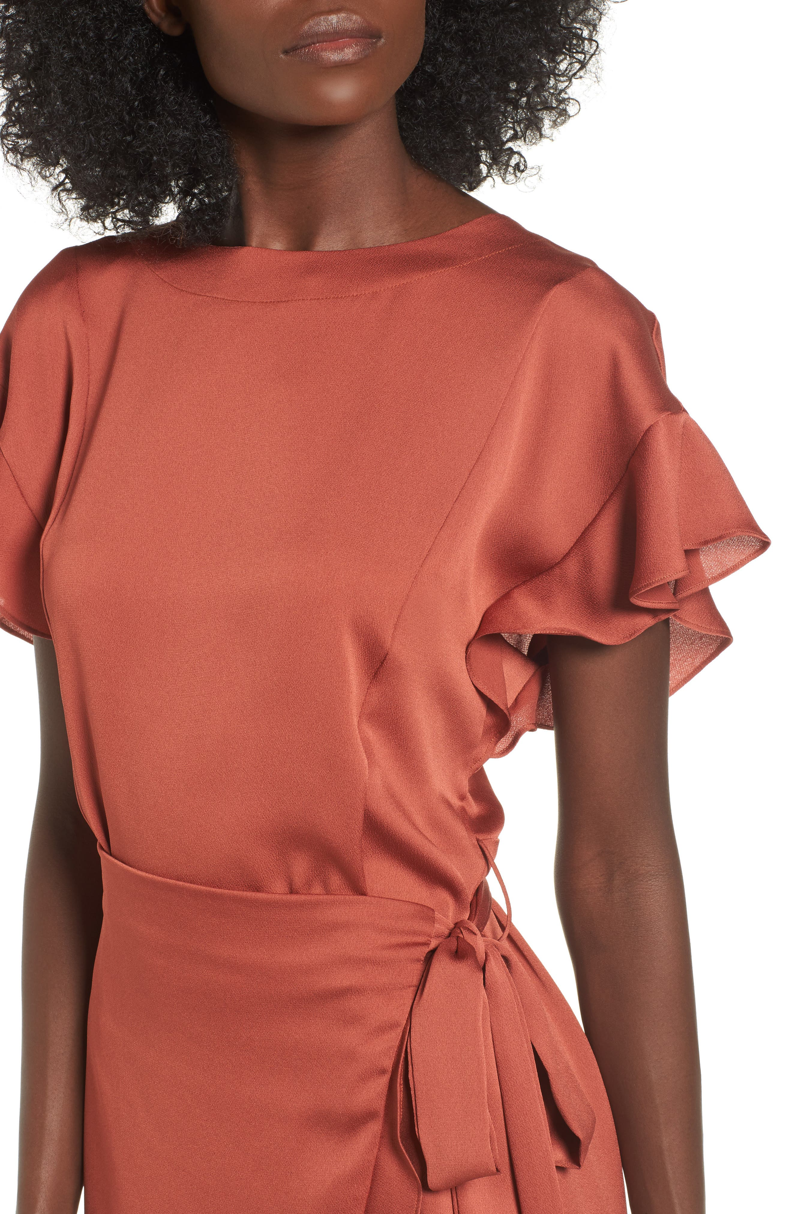 Ruffle Sleeve Satin Dress,                             Alternate thumbnail 4, color,                             Rust Marsala
