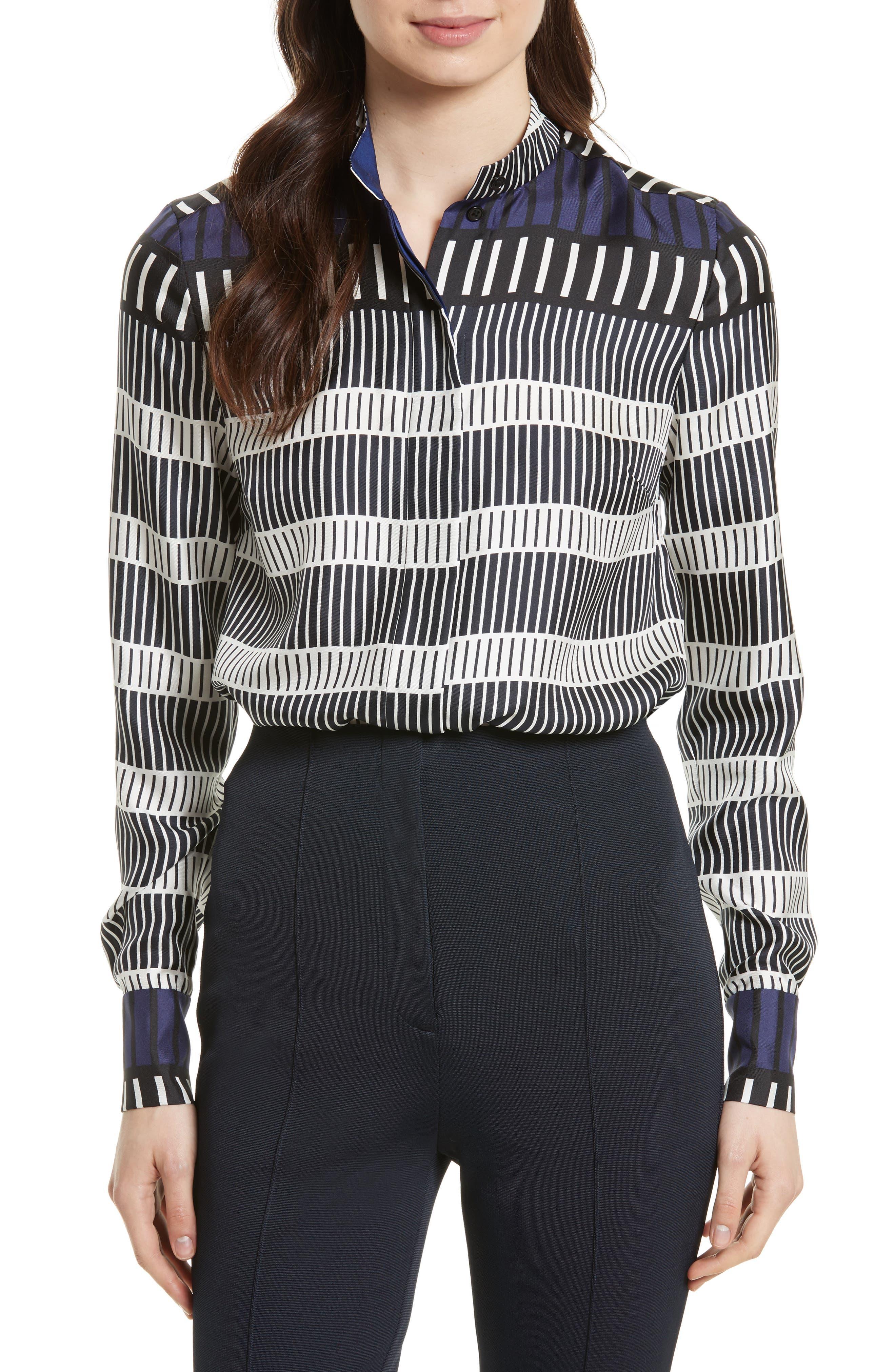 Diane von Furstenberg Stripe Silk Shirt