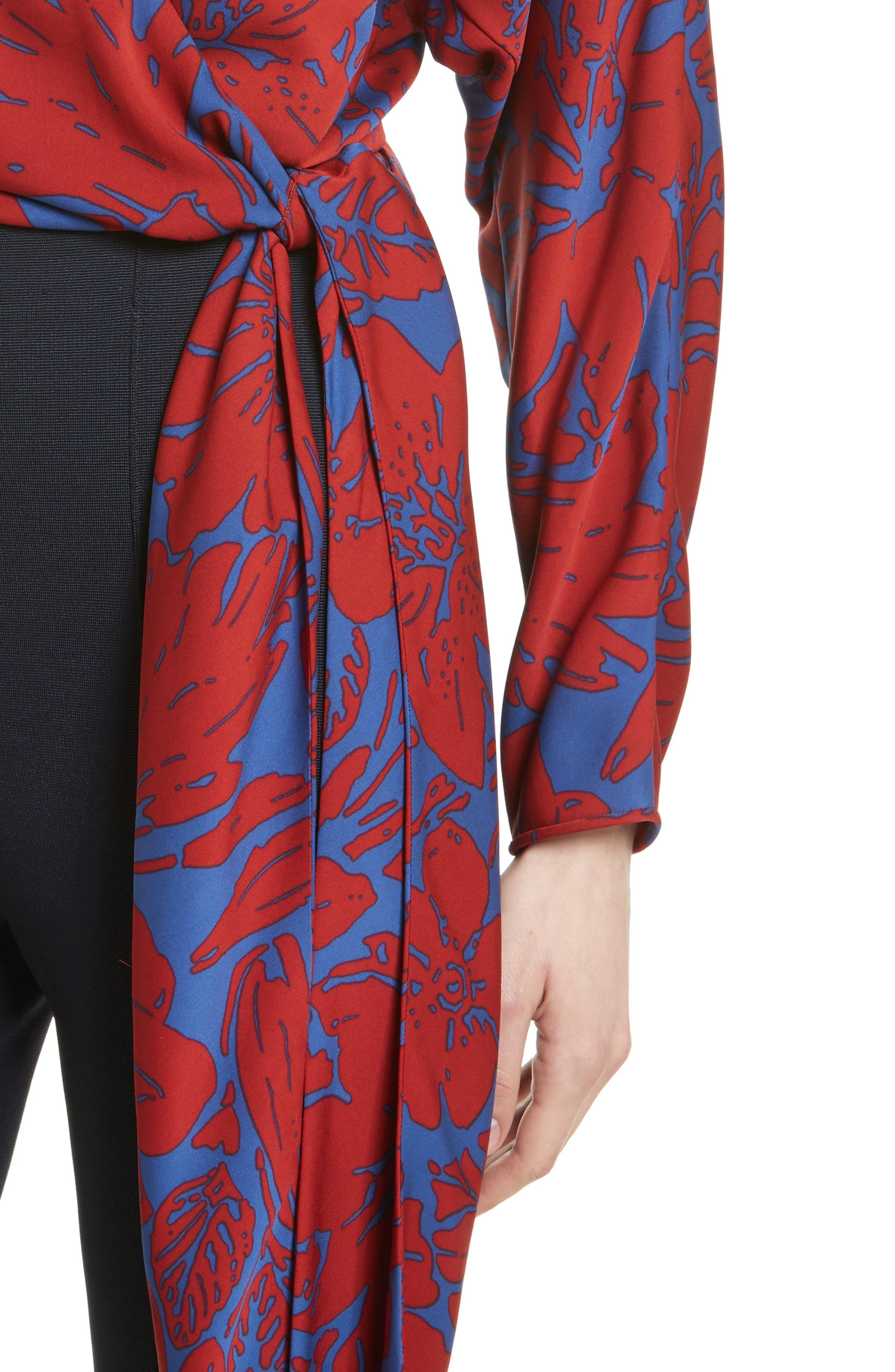 Floral Silk Wrap Blouse,                             Alternate thumbnail 4, color,                             Leclaire Rust