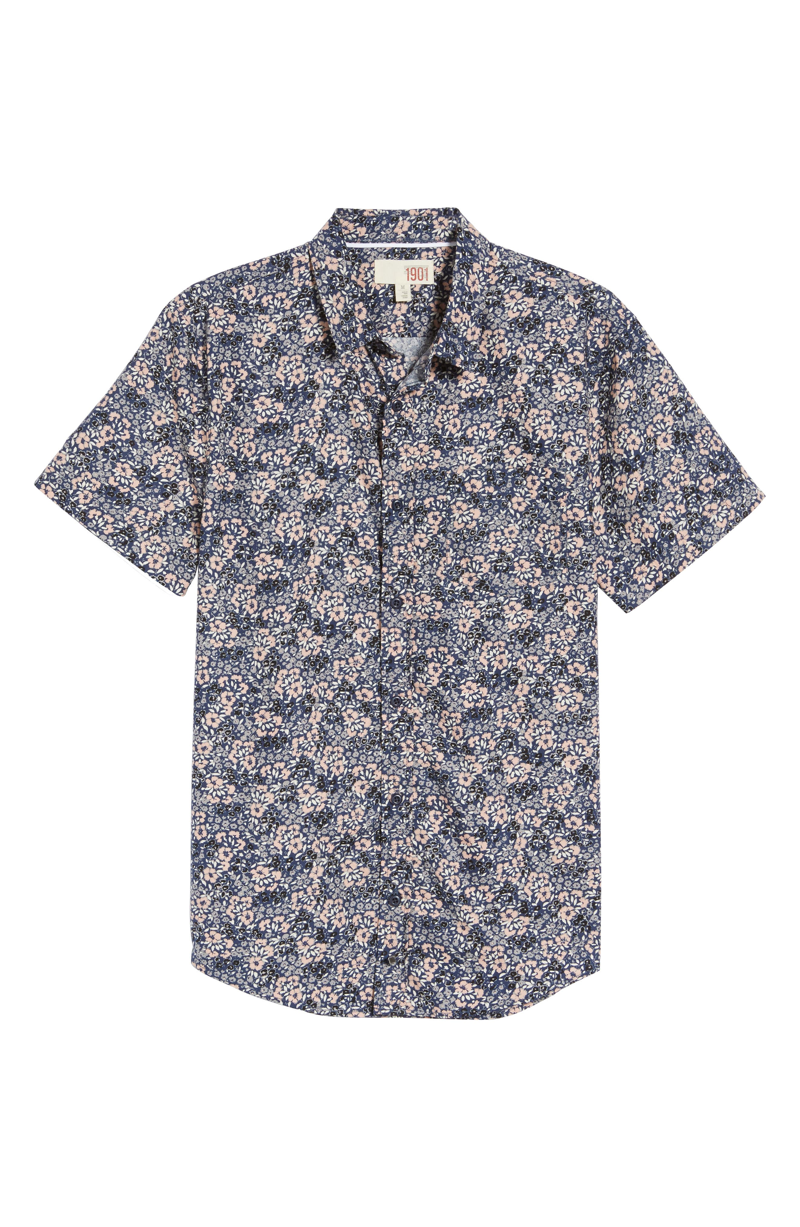 Poplin Floral Shirt,                             Alternate thumbnail 7, color,                             Navy Peacoat Simple Floral