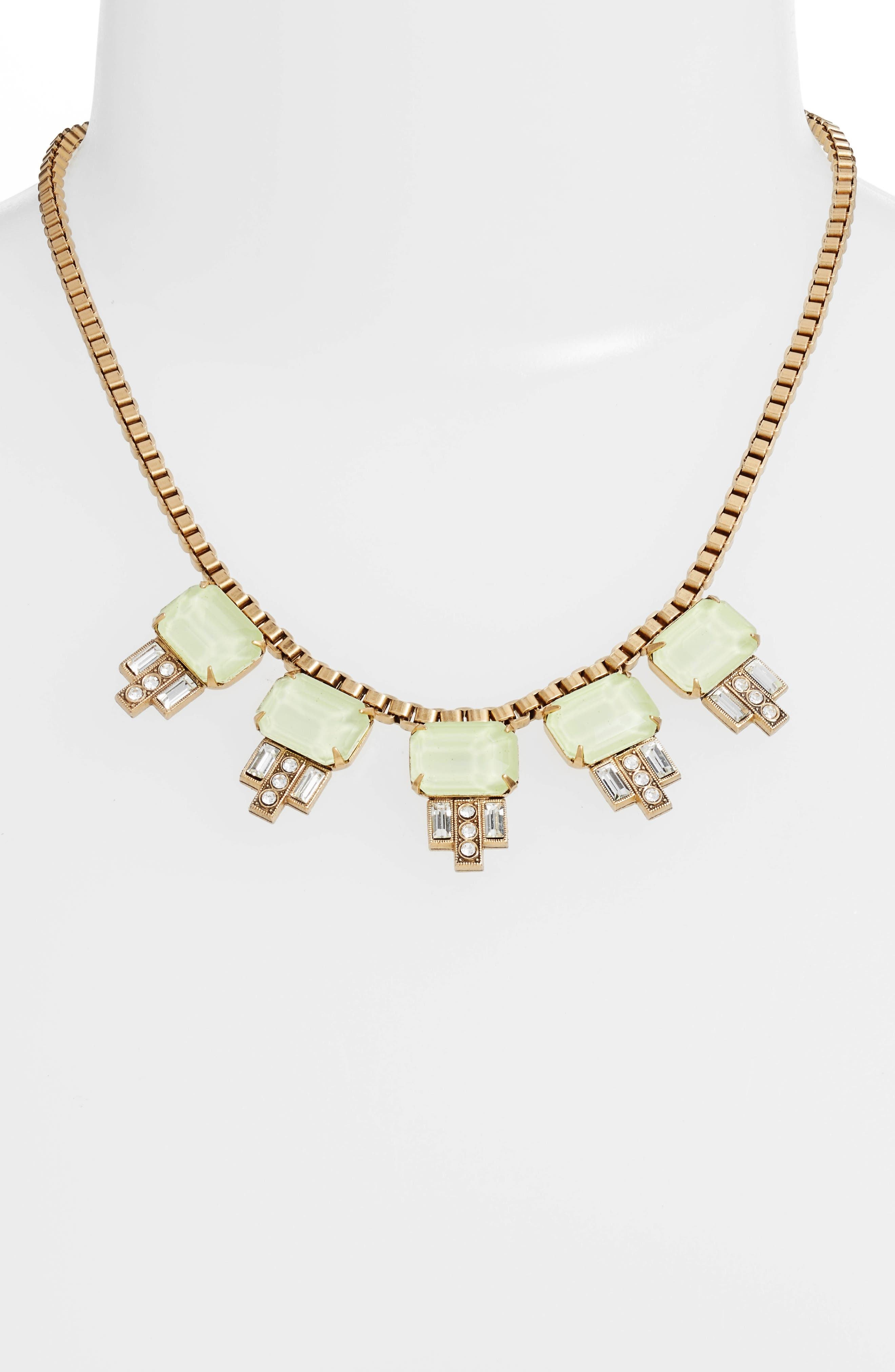 'Alex' Collar Necklace,                             Alternate thumbnail 2, color,                             Milky Green