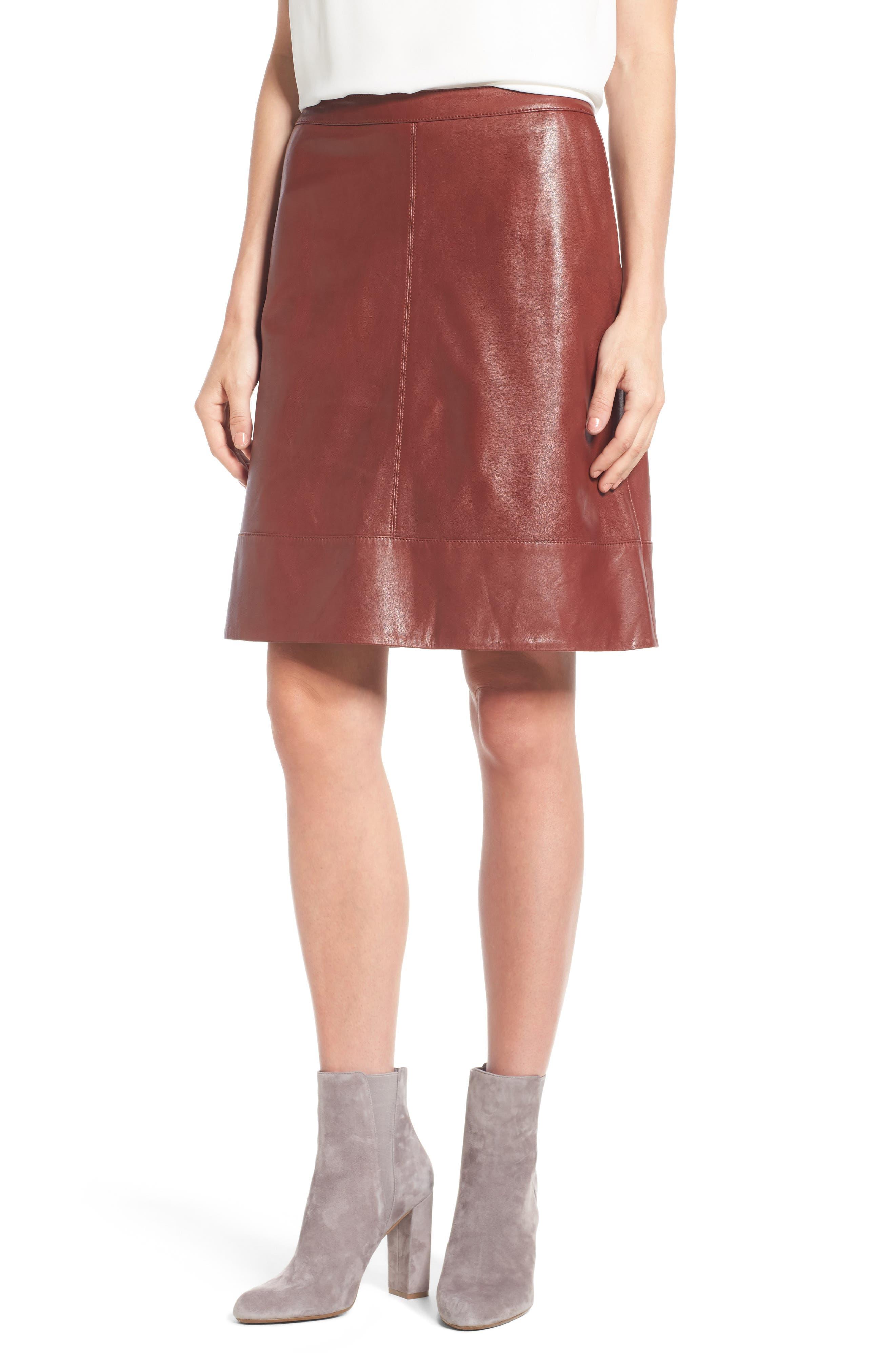 Halogen® A-Line Leather Skirt (Regular & Petite)   Nordstrom