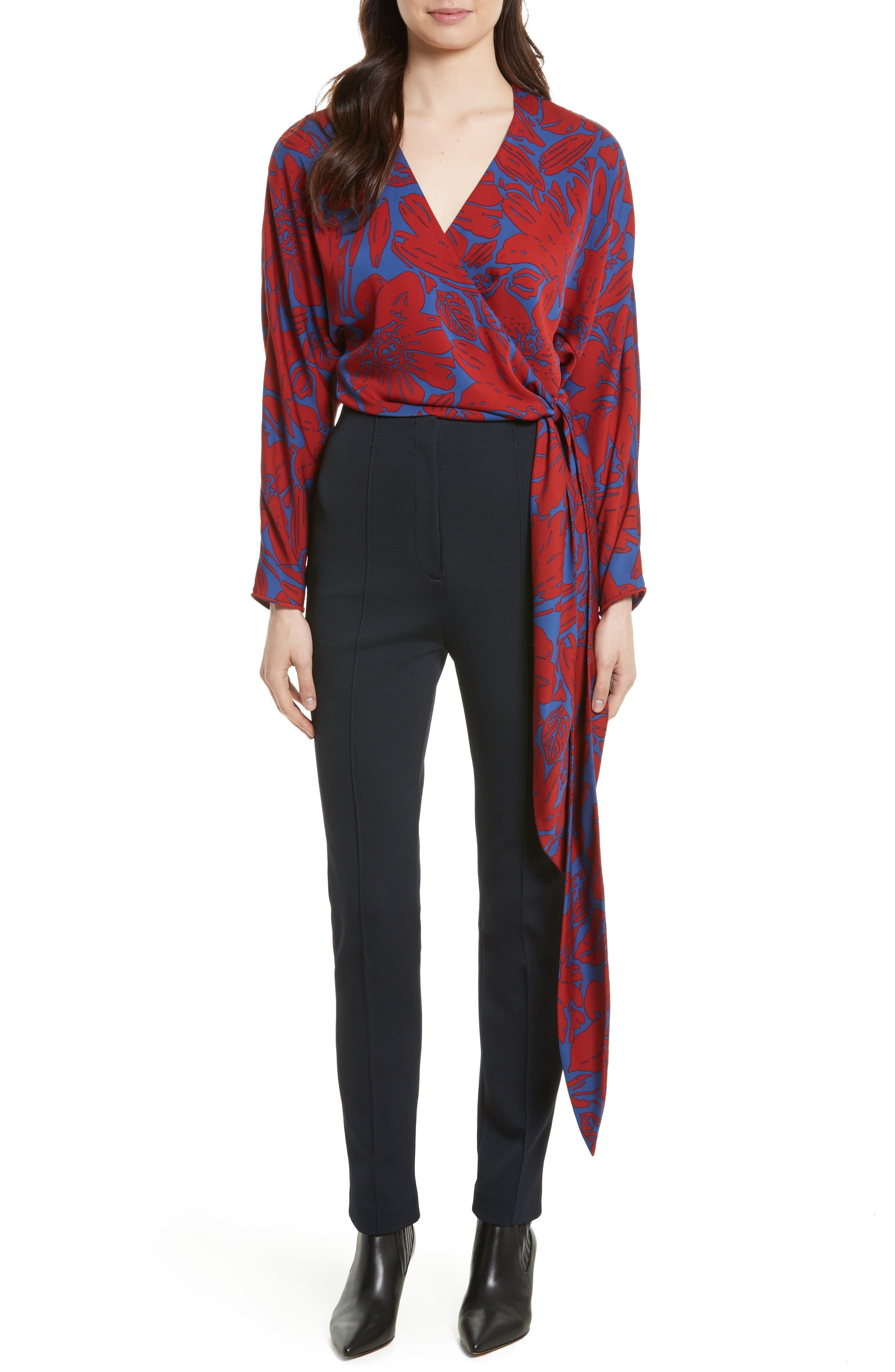 Floral Silk Wrap Blouse,                         Main,                         color, Leclaire Rust