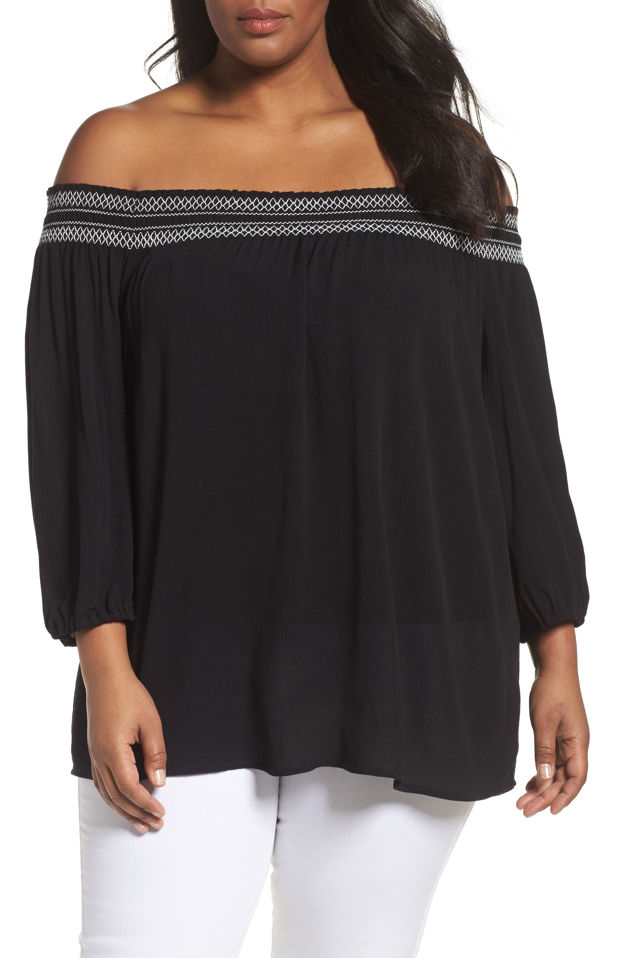 Off the Shoulder Blouse,                             Main thumbnail 1, color,                             Black