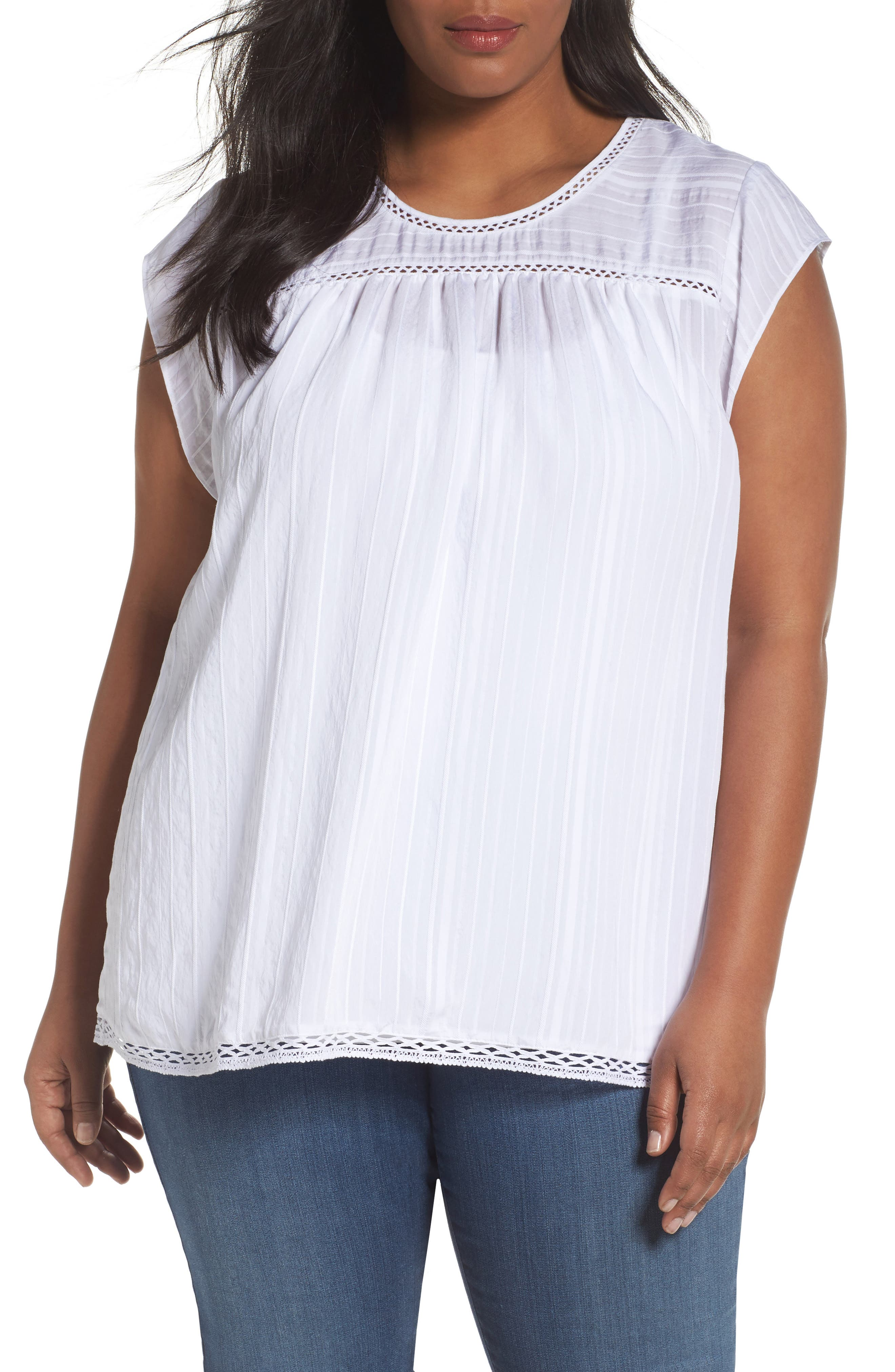 Alternate Image 1 Selected - Sejour Cap Sleeve Top (Plus Size)