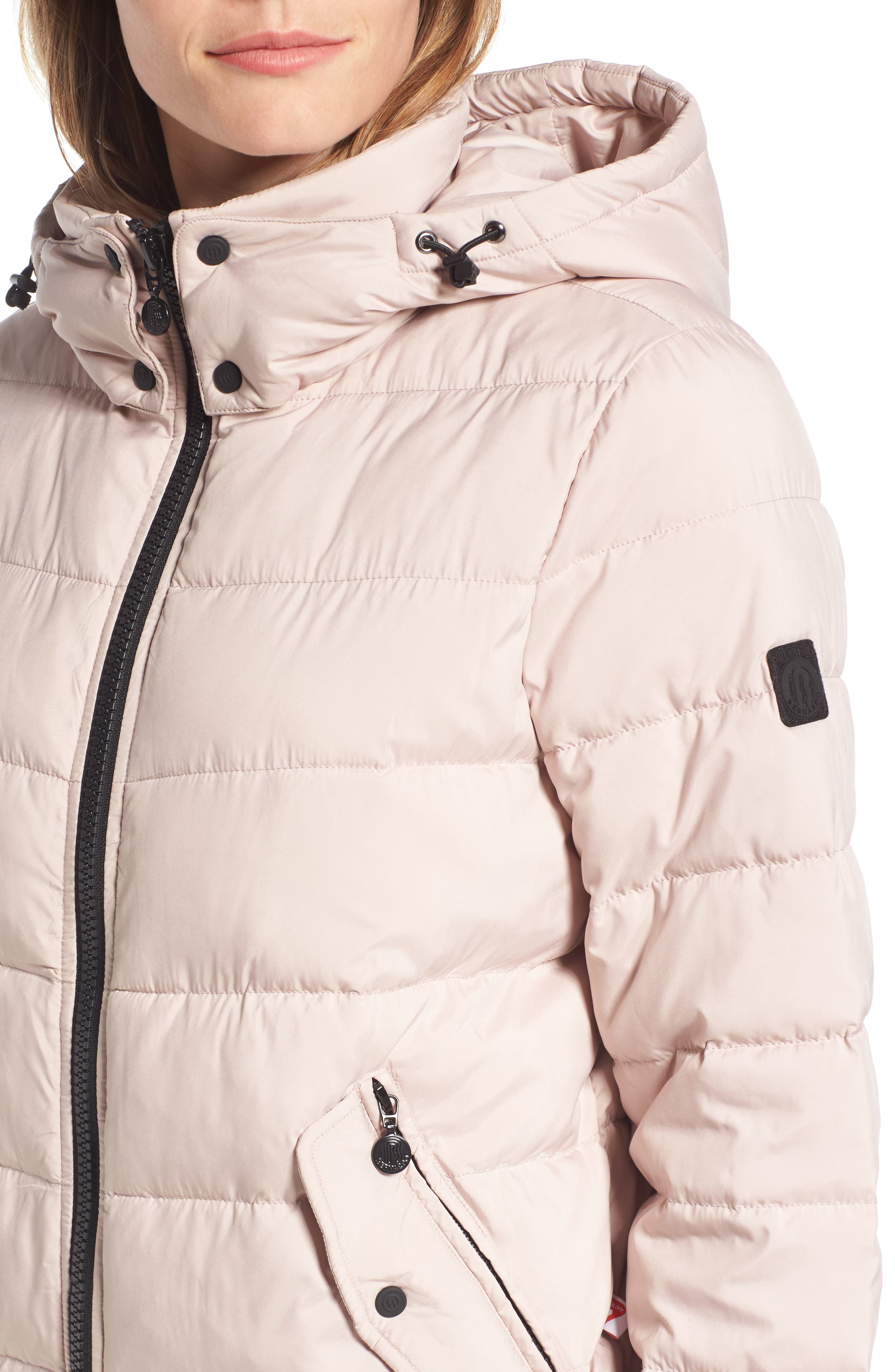Micro Touch Hooded Quilted Bomber Jacket,                             Alternate thumbnail 4, color,                             Petal Pink