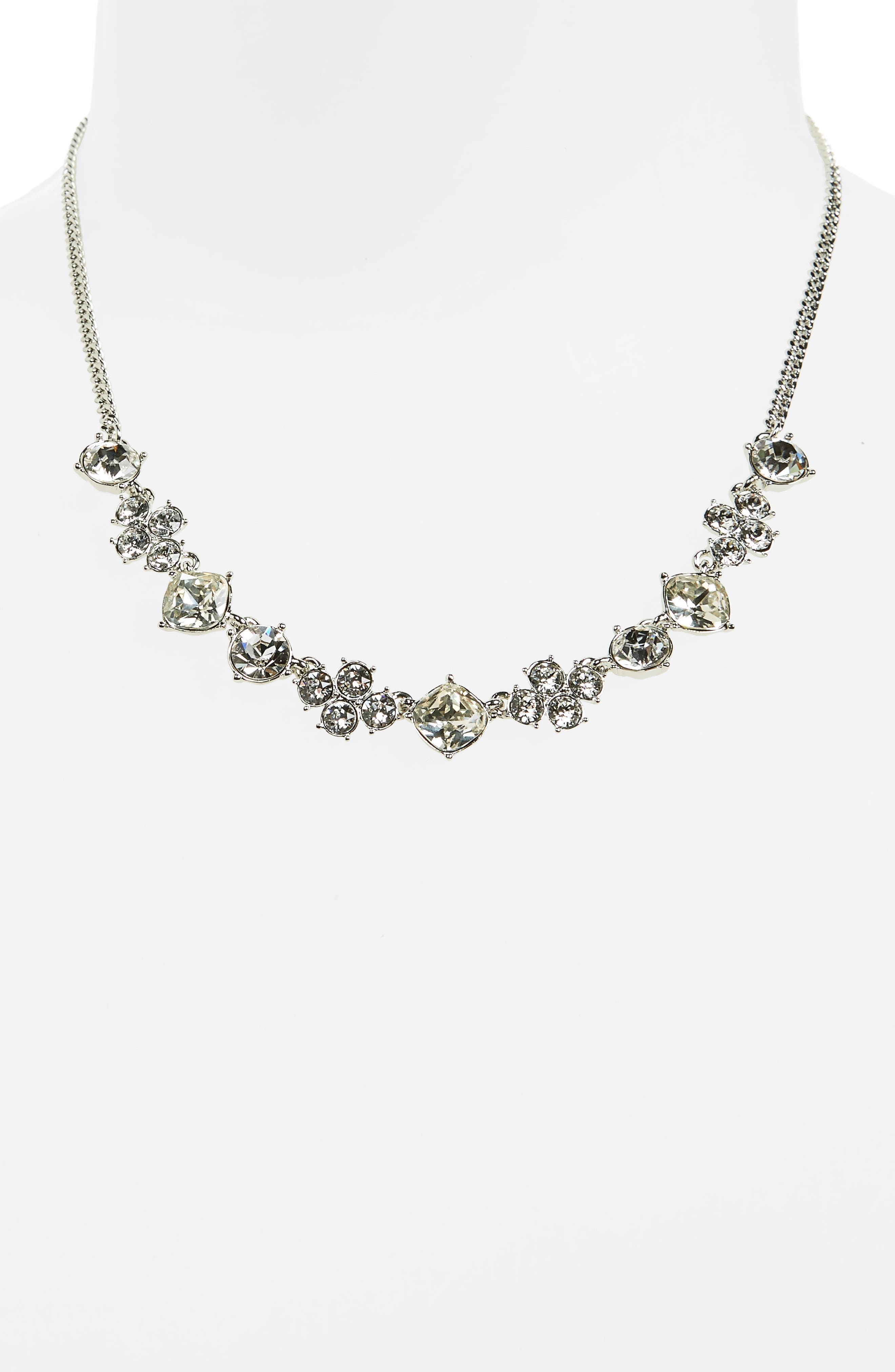 Devon Frontal Necklace,                             Alternate thumbnail 2, color,                             Clear / Silver