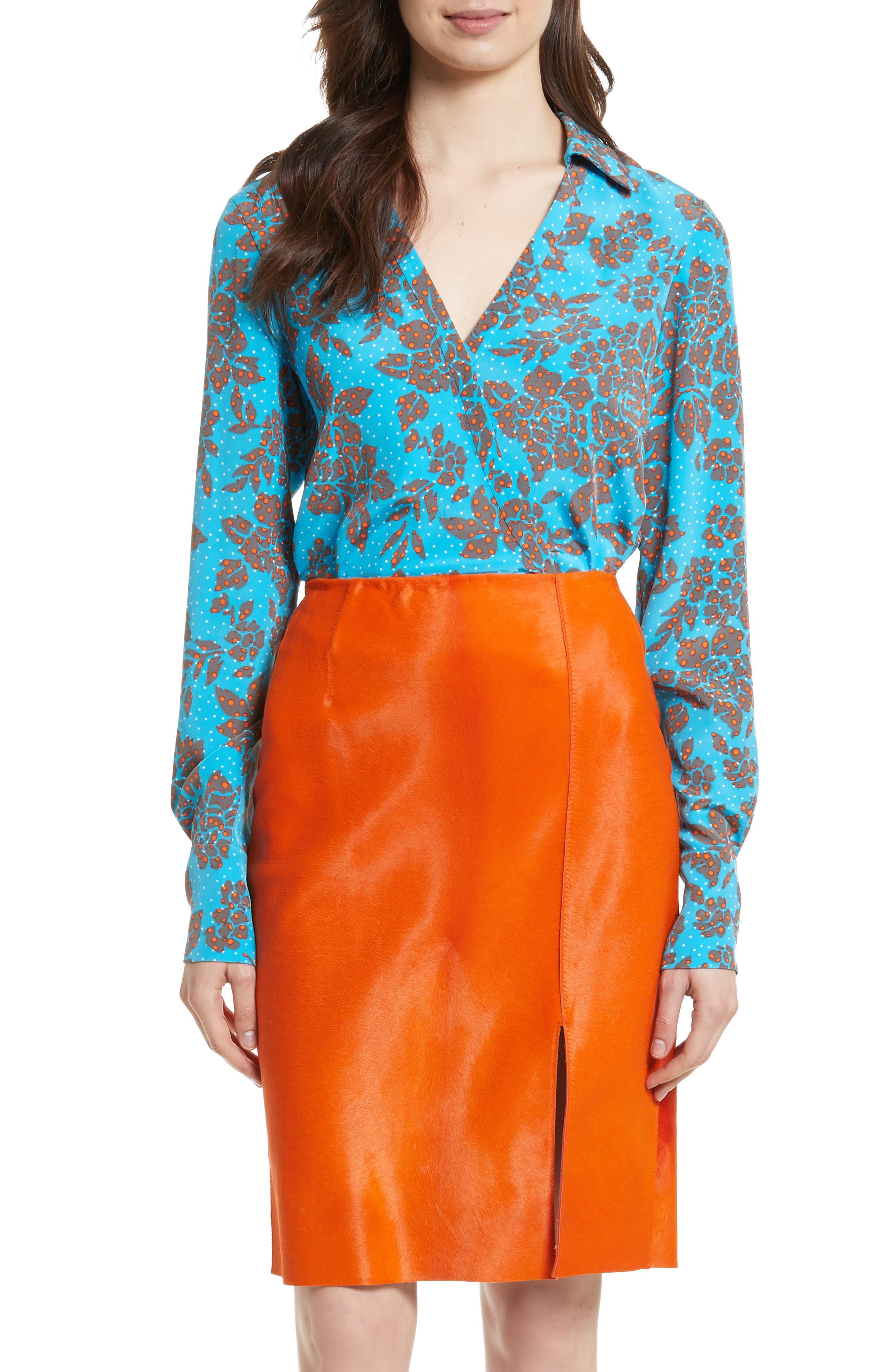 Silk Blouse,                         Main,                         color, Callow Cerulean