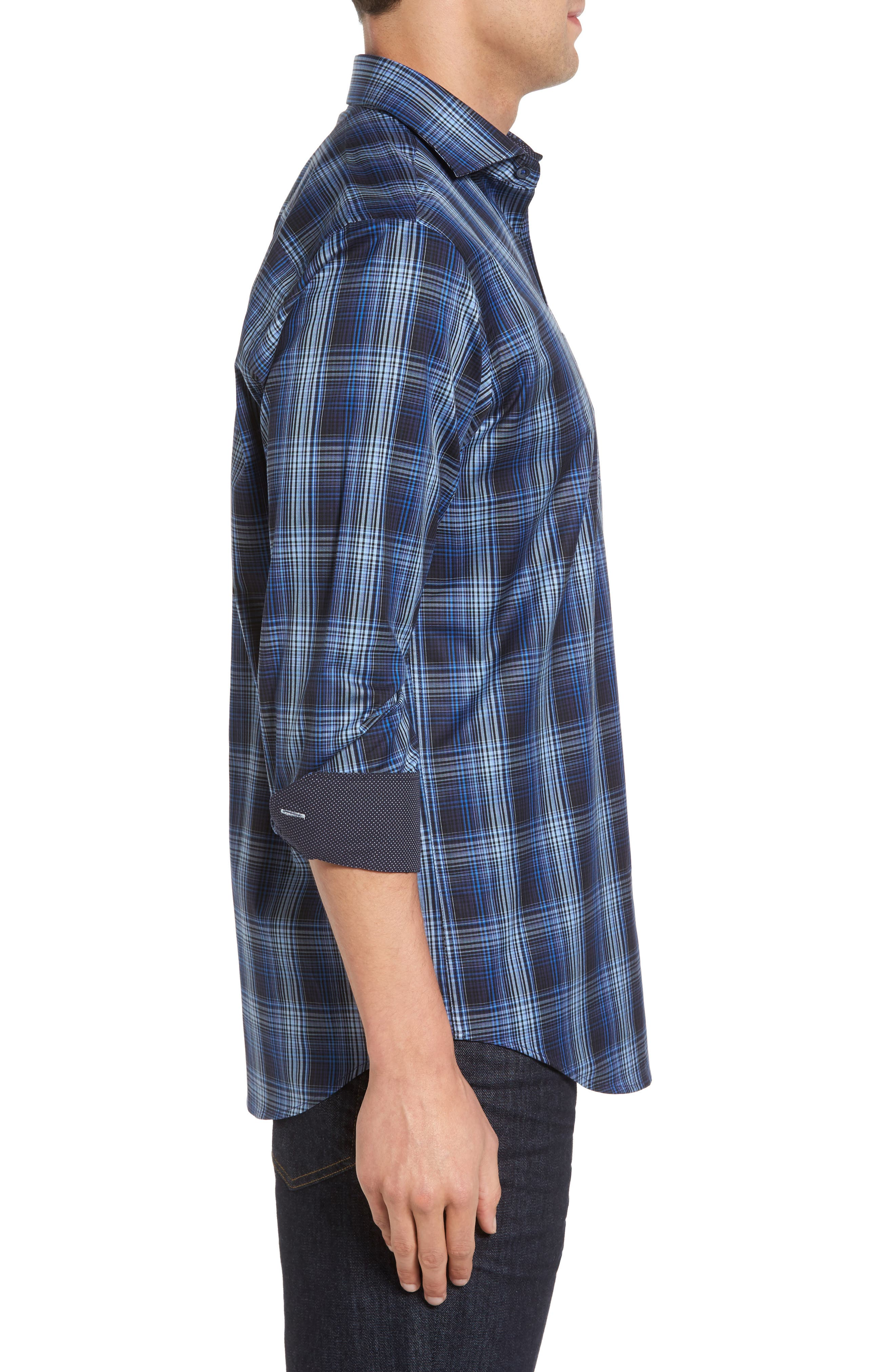 Classic Fit Plaid Sport Shirt,                             Alternate thumbnail 3, color,                             Midnight