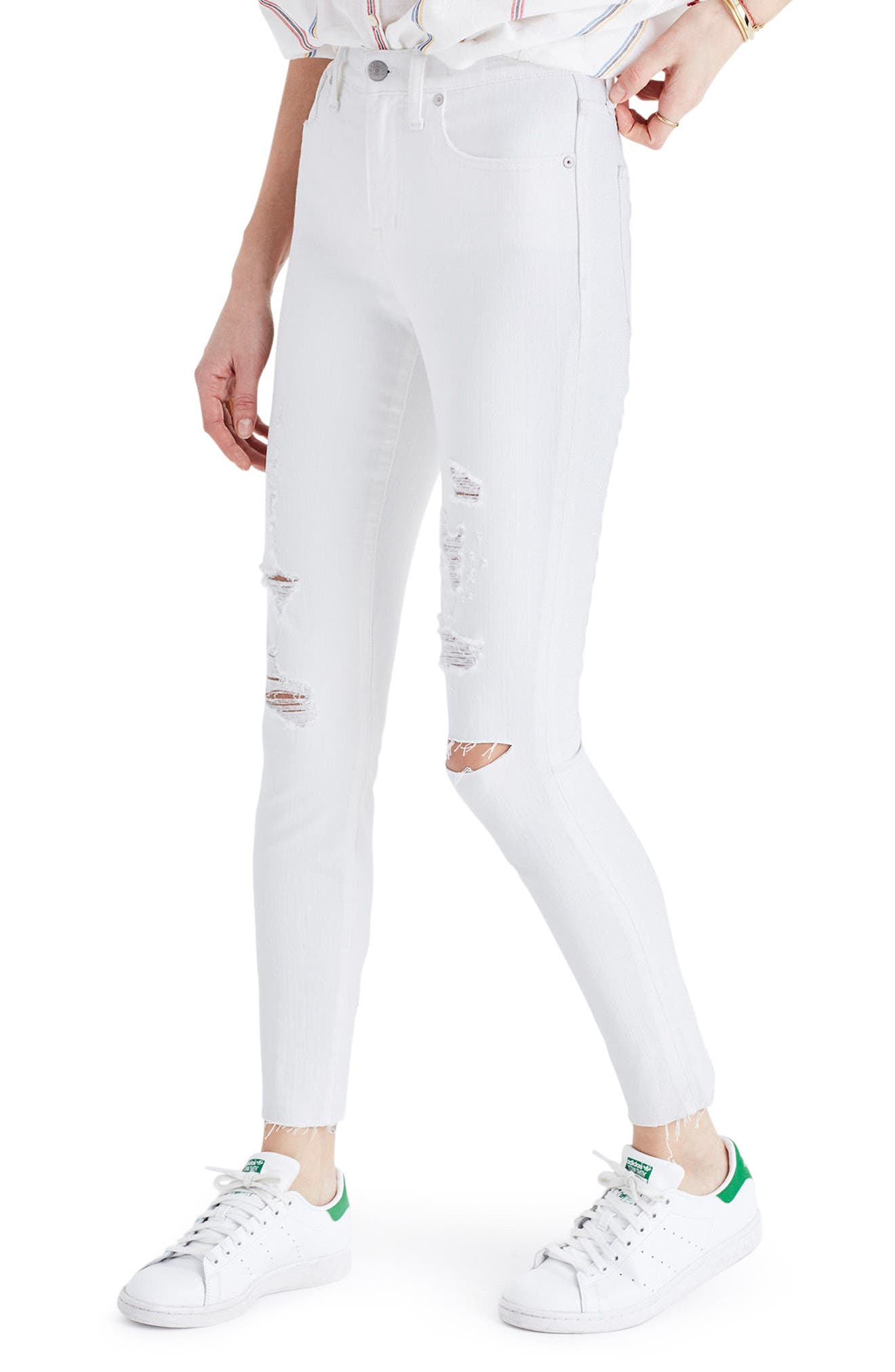 Alternate Image 3  - Madewell 9-Inch High-Rise Skinny Crop Jeans: Destructed Edition (Pure White)