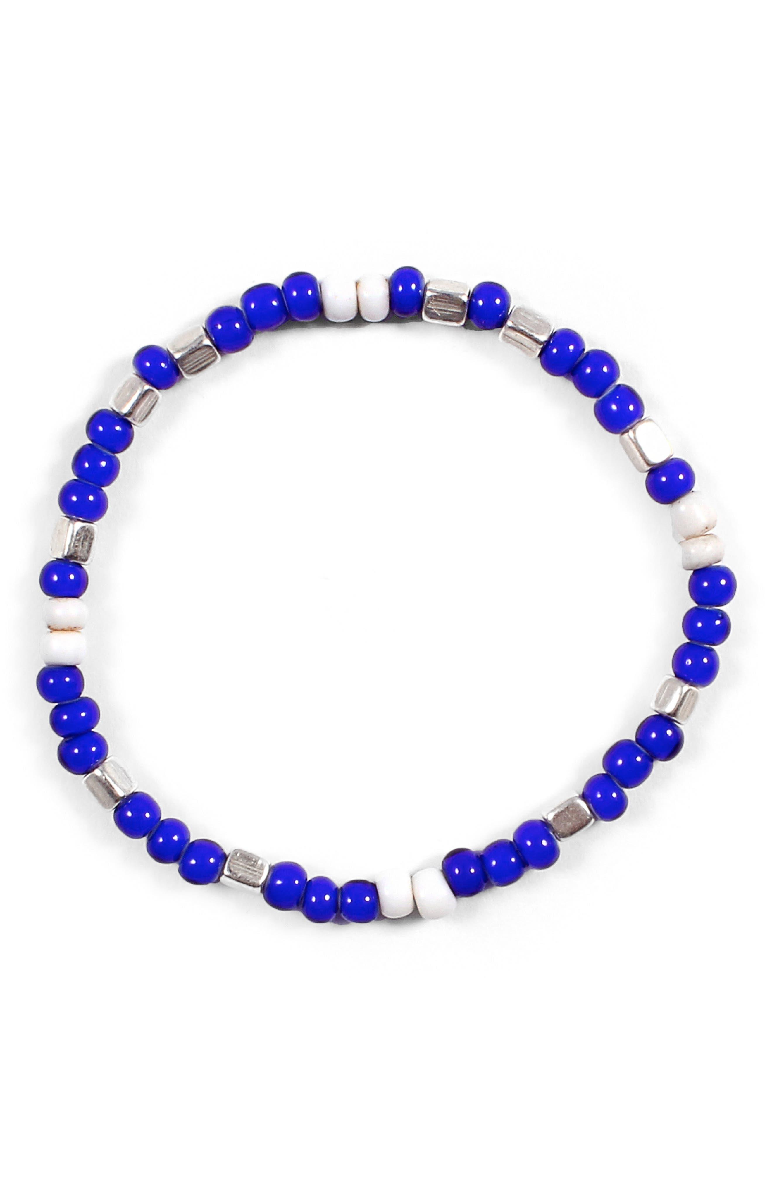 Cool Morse Bracelet,                         Main,                         color, Blue/ White/ Silver