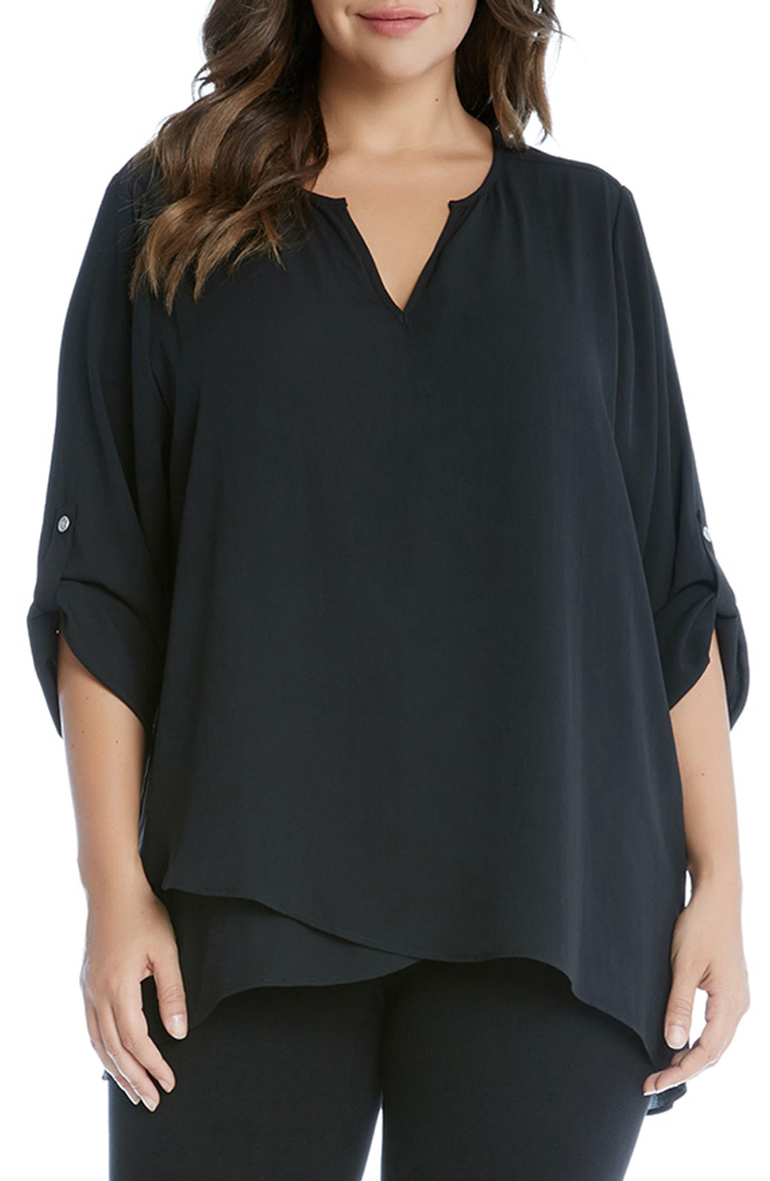 Karen Kane Asymmetrical Wrap Hem Top (Plus Size)