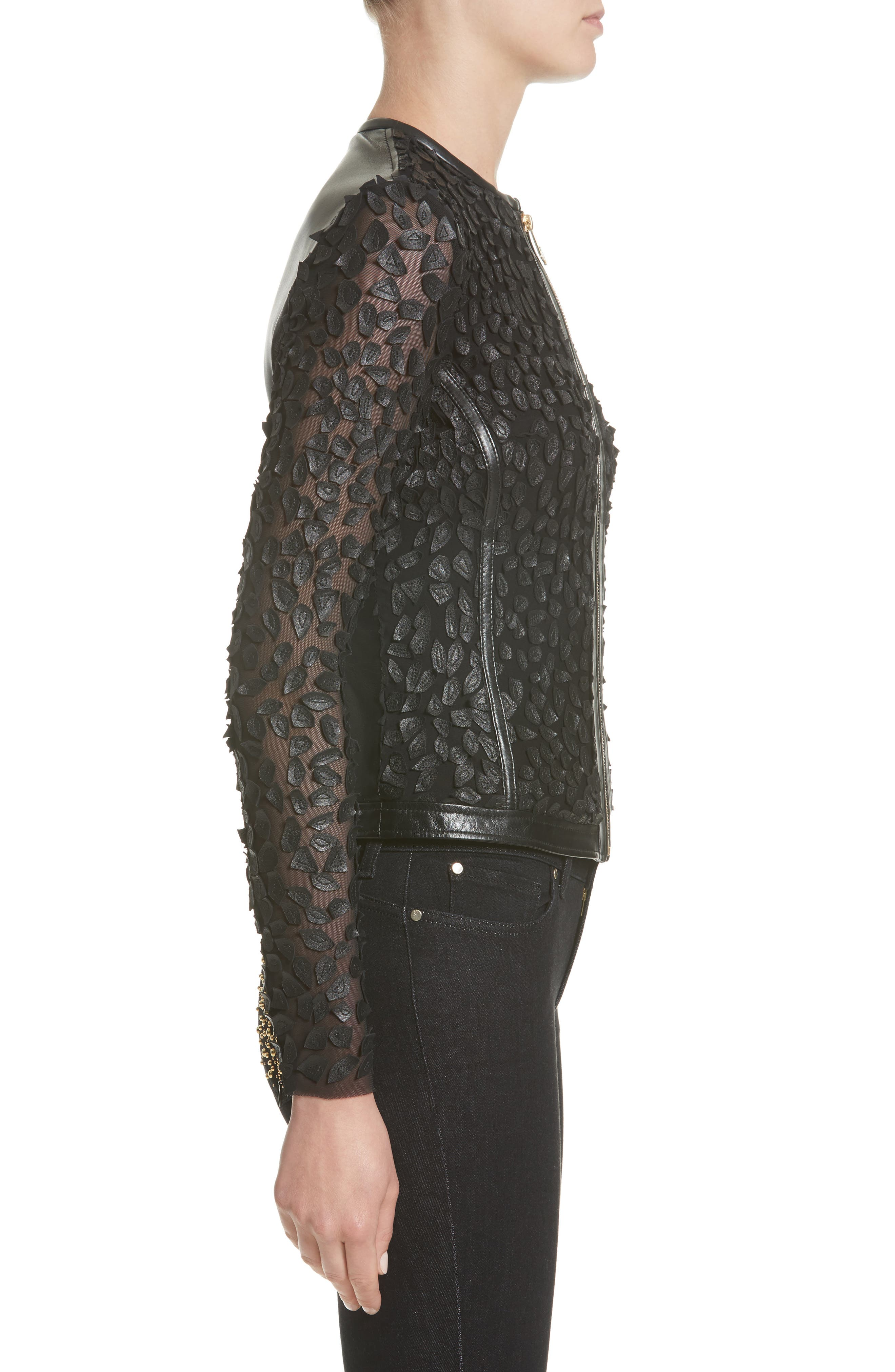 Collection Pieced Leather Jacket,                             Alternate thumbnail 3, color,                             Black