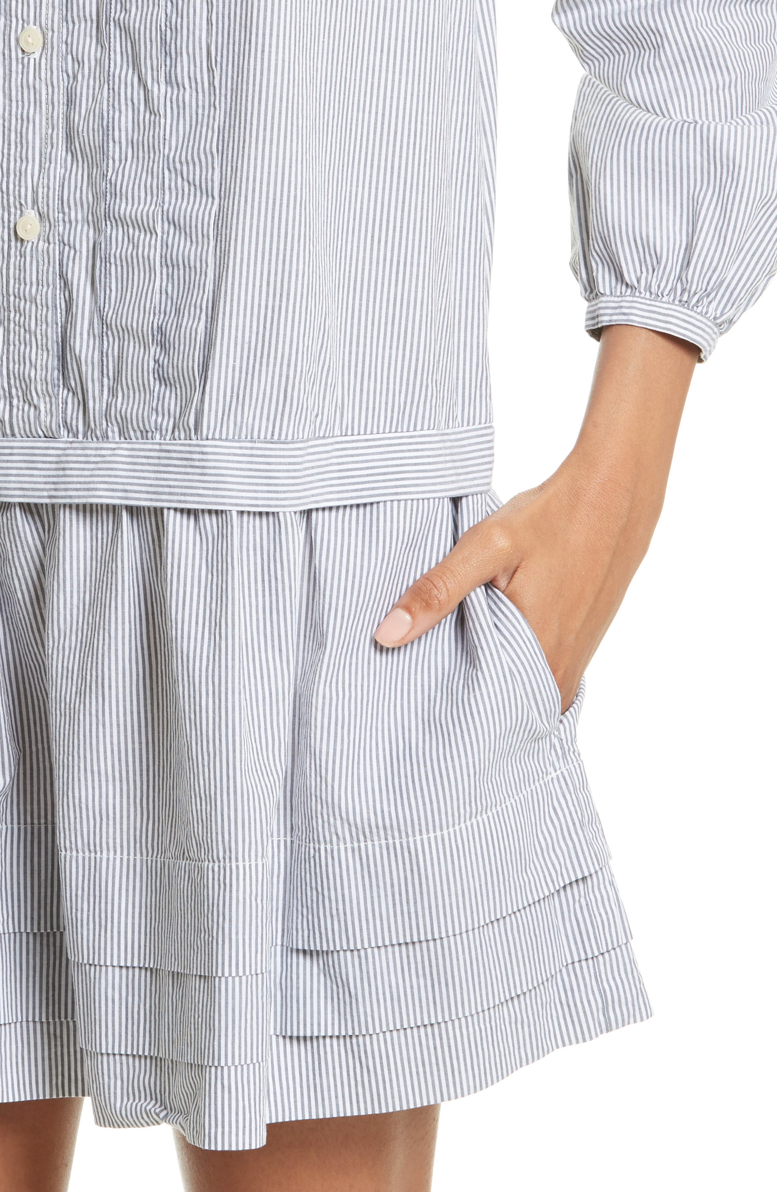 Cotton Shirtdress,                             Alternate thumbnail 4, color,                             Black/ Milk