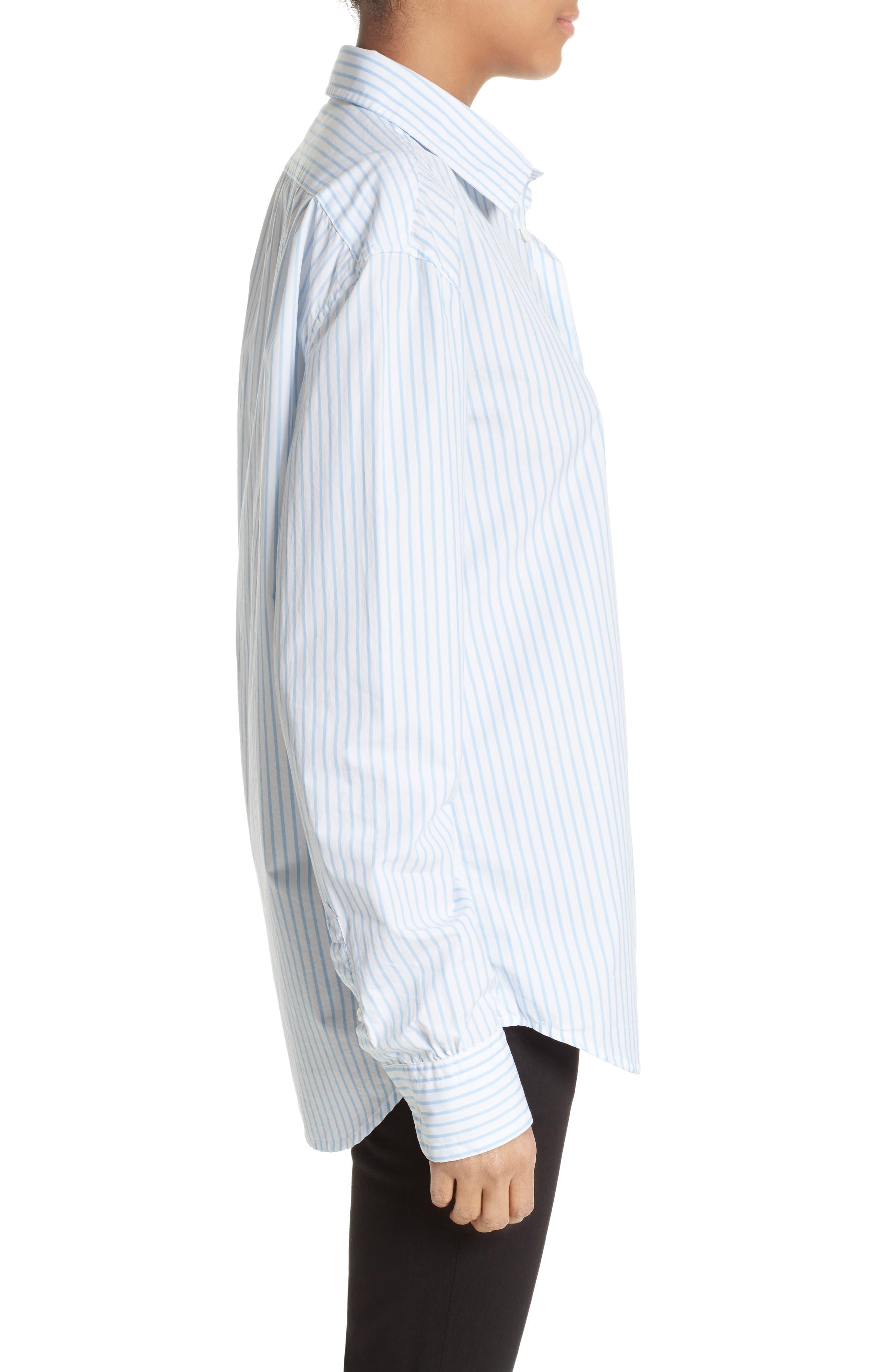 Stripe Poplin Shirt,                             Alternate thumbnail 4, color,                             Capri Blue Multi