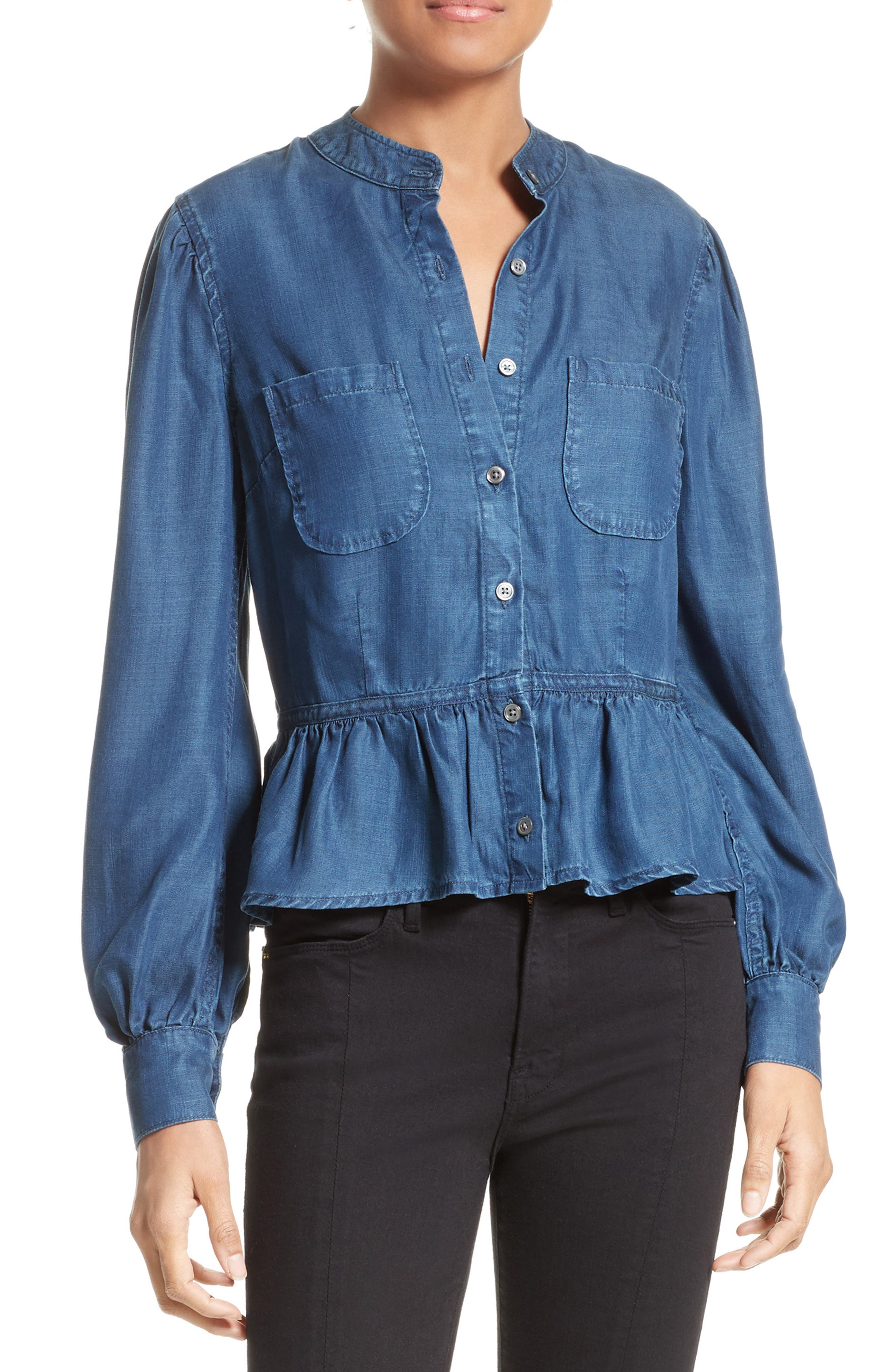Alternate Image 1 Selected - FRAME Chambray Peplum Top (Nordstrom Exclusive)