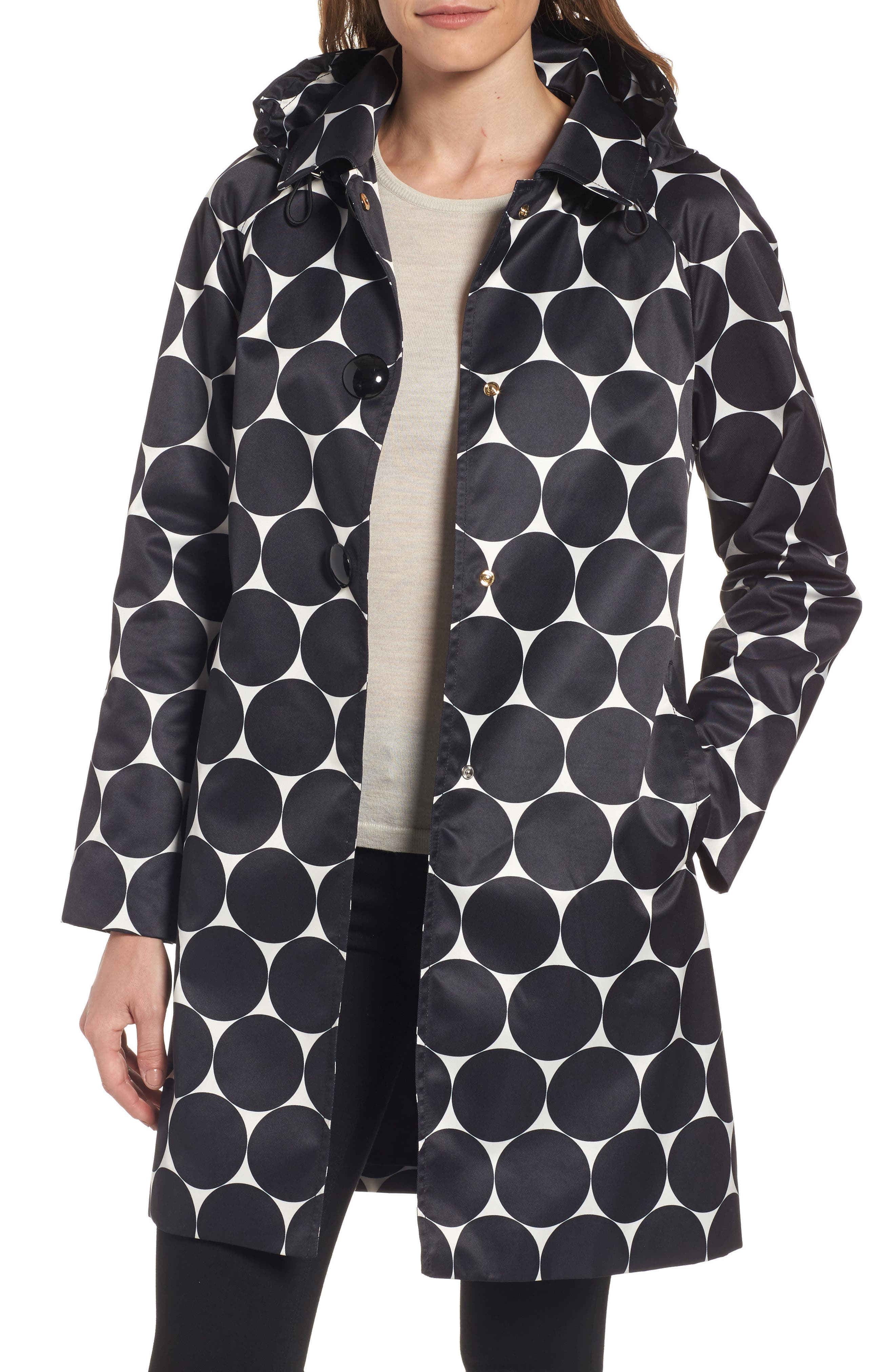 dot print raincoat,                         Main,                         color, Dl Dot Cream/ Black