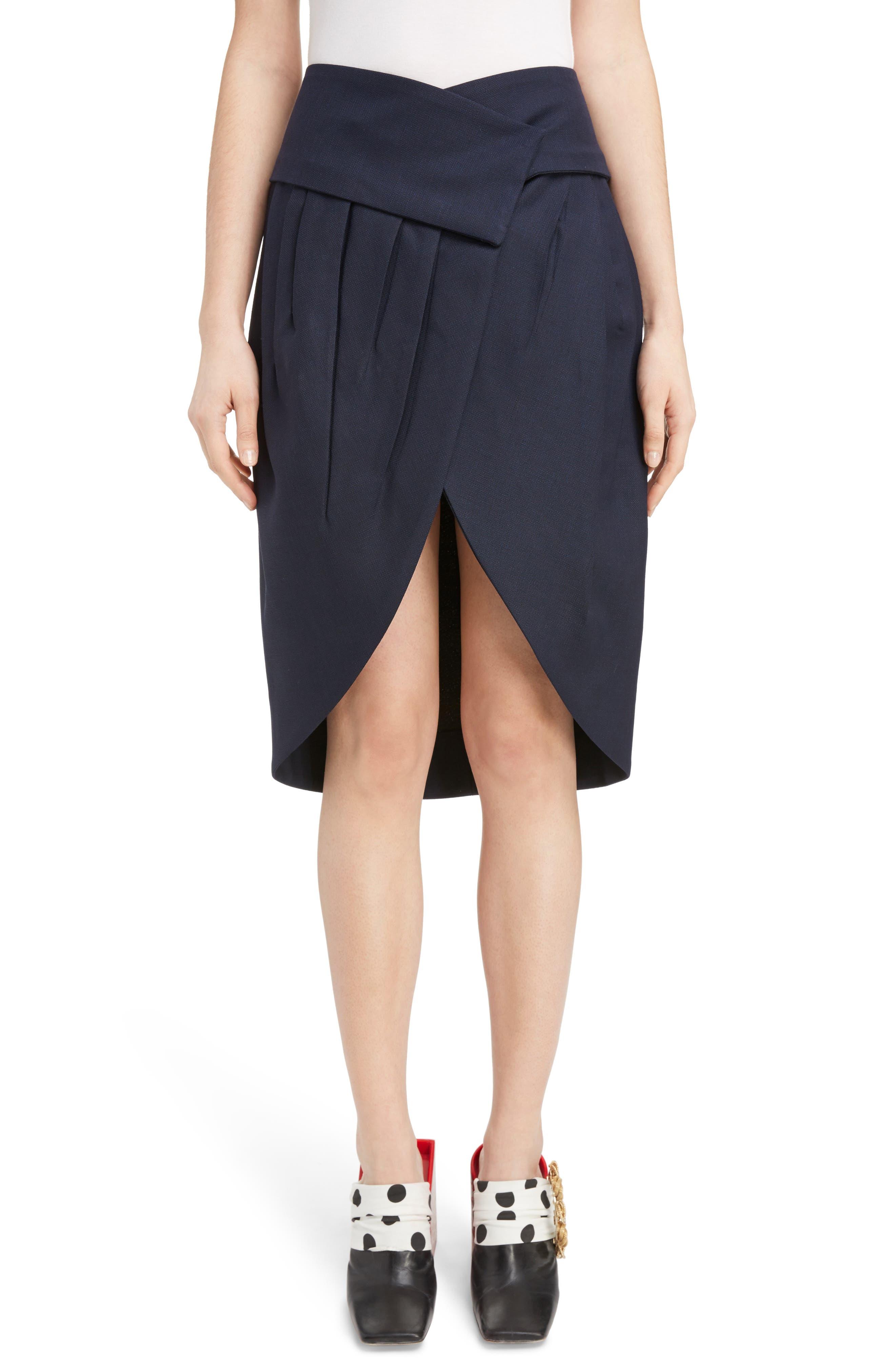 Jacquemus Box Pleat Asymmetrical Wool Skirt