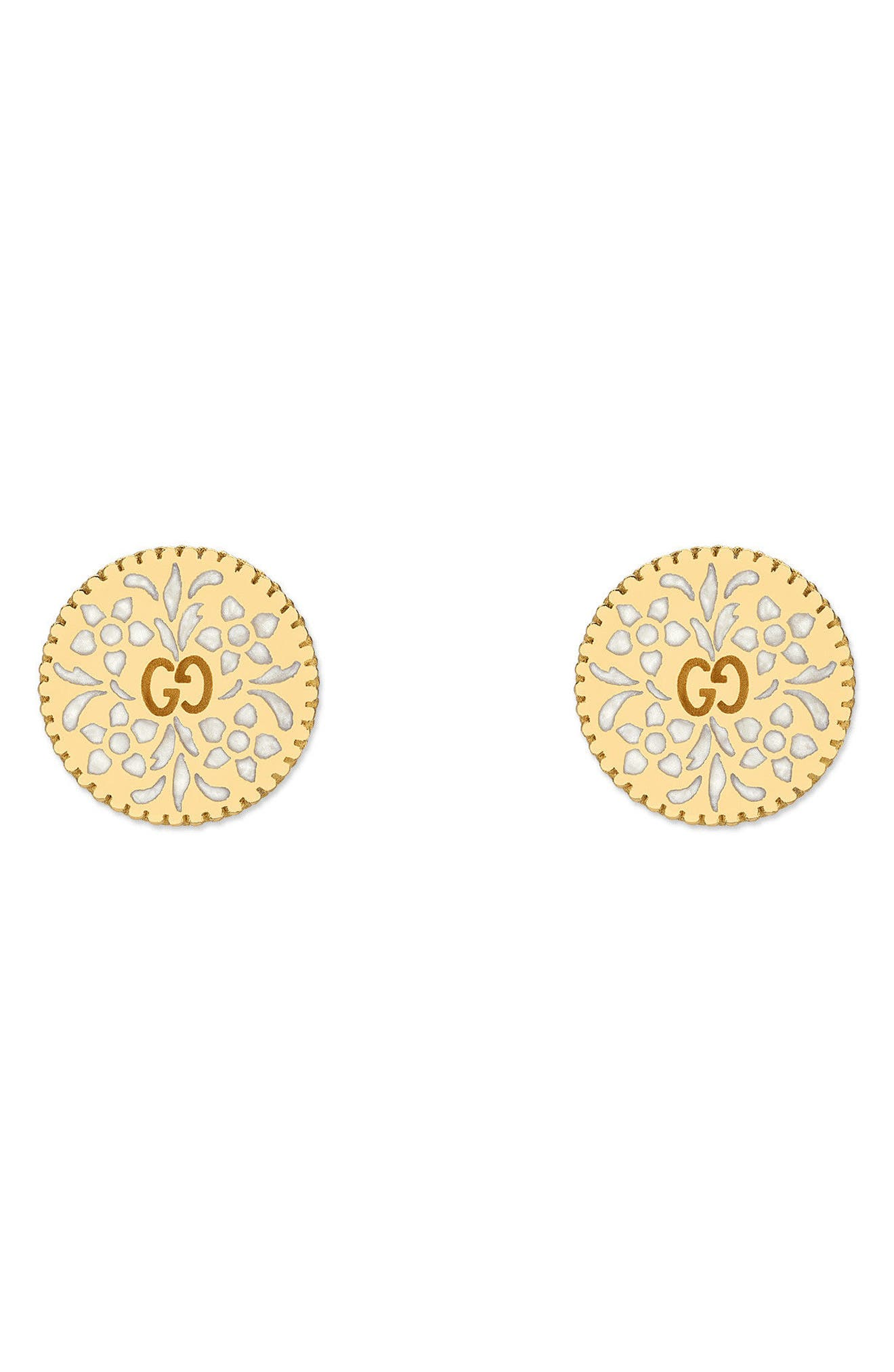 Icon Blooms Stud Earrings,                         Main,                         color, Yellow Gold