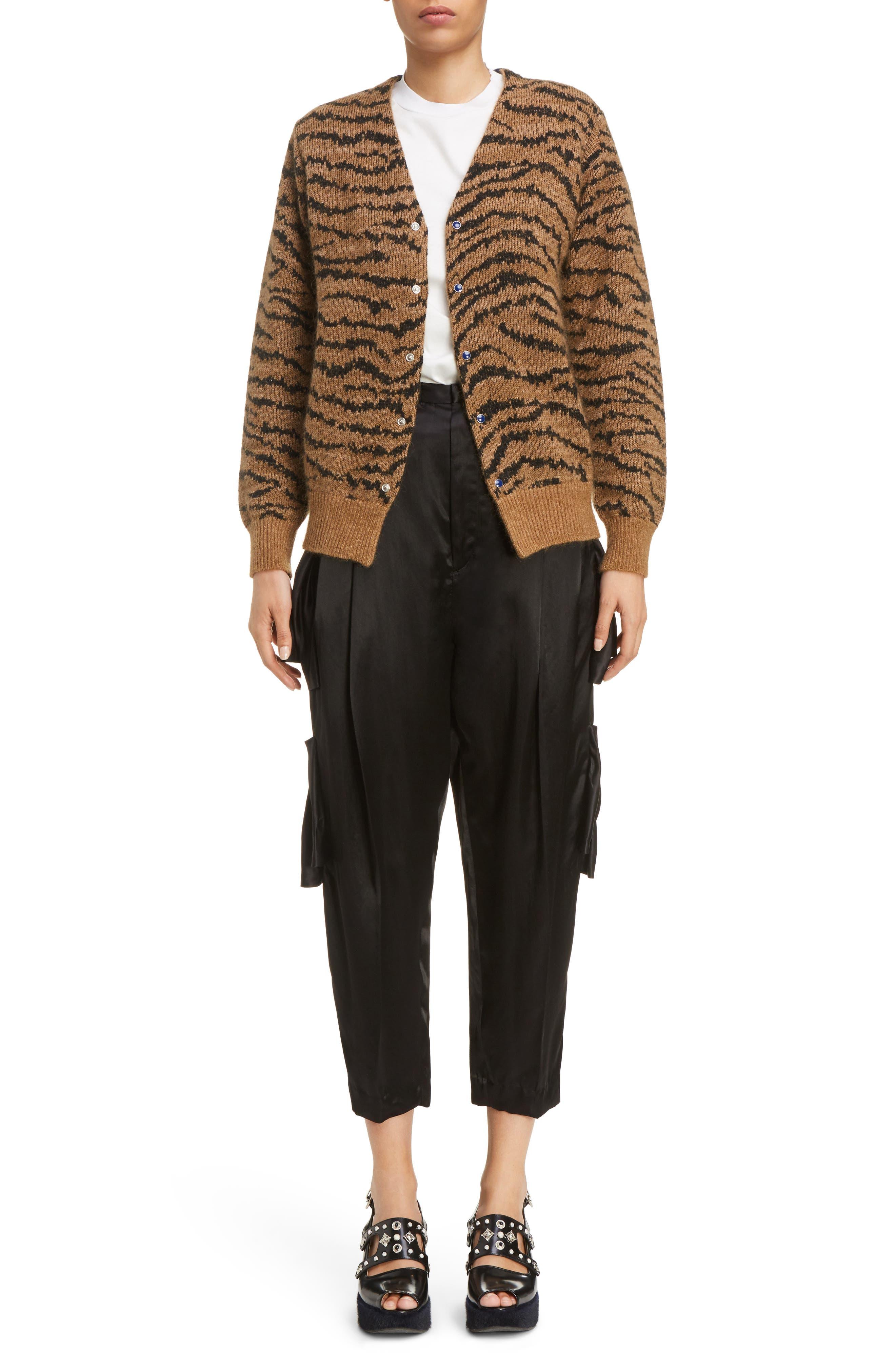 Tiger Jacquard Knit Button Cardigan,                             Alternate thumbnail 6, color,                             Beige