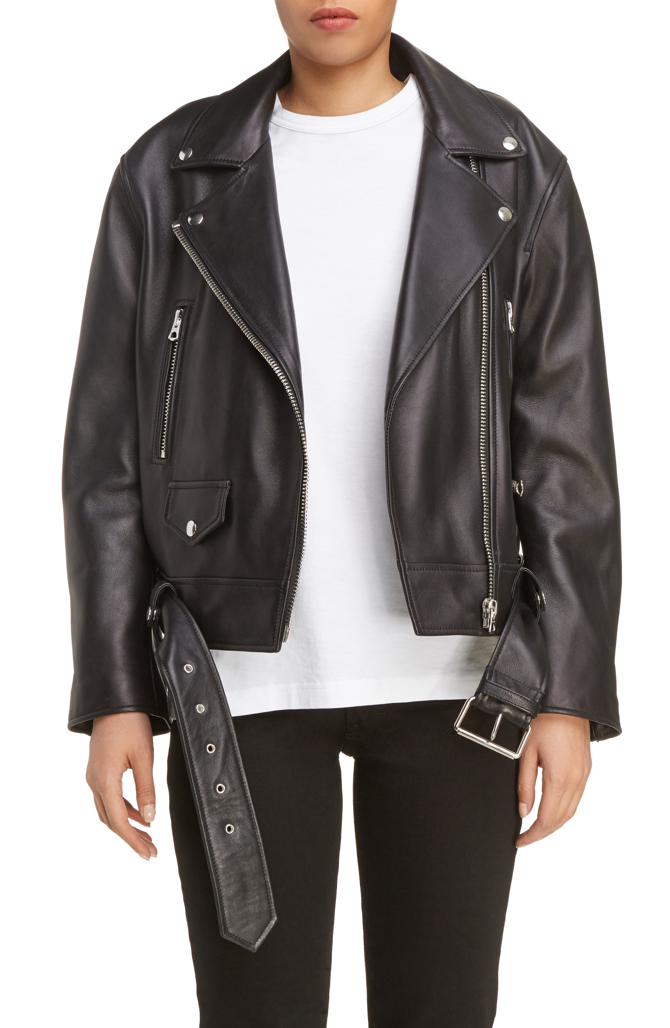 Merlyn Leather Moto Jacket,                         Main,                         color, Black