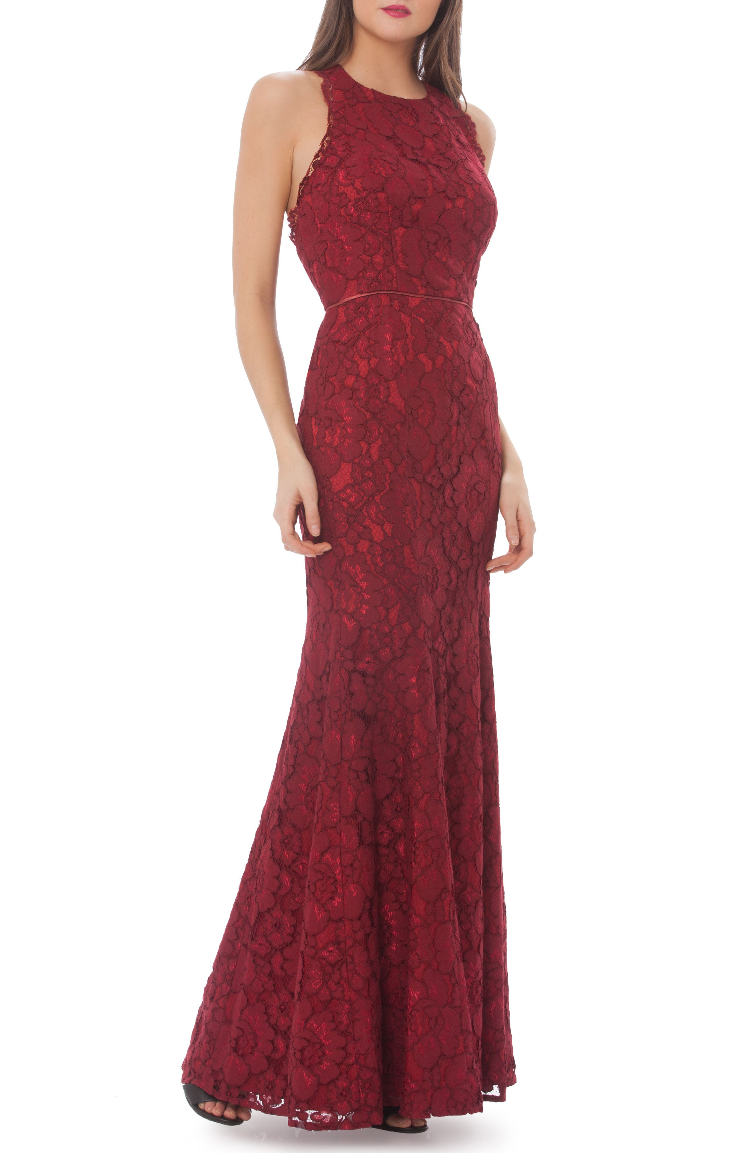 Corded Floral Lace Mermaid Gown,                         Main,                         color, Ruby