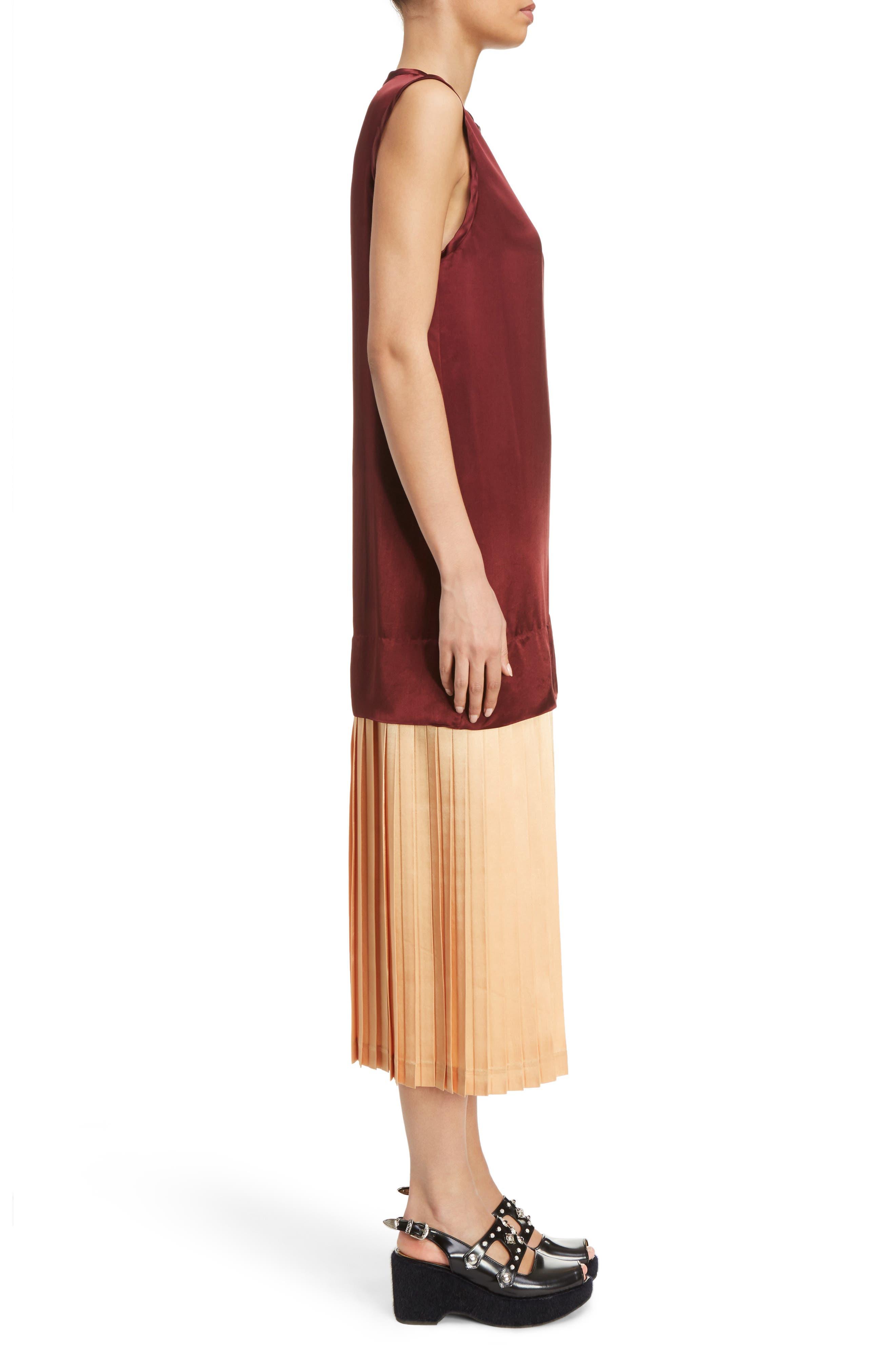 Mock Two-Piece Satin Dress,                             Alternate thumbnail 4, color,                             Dark Red