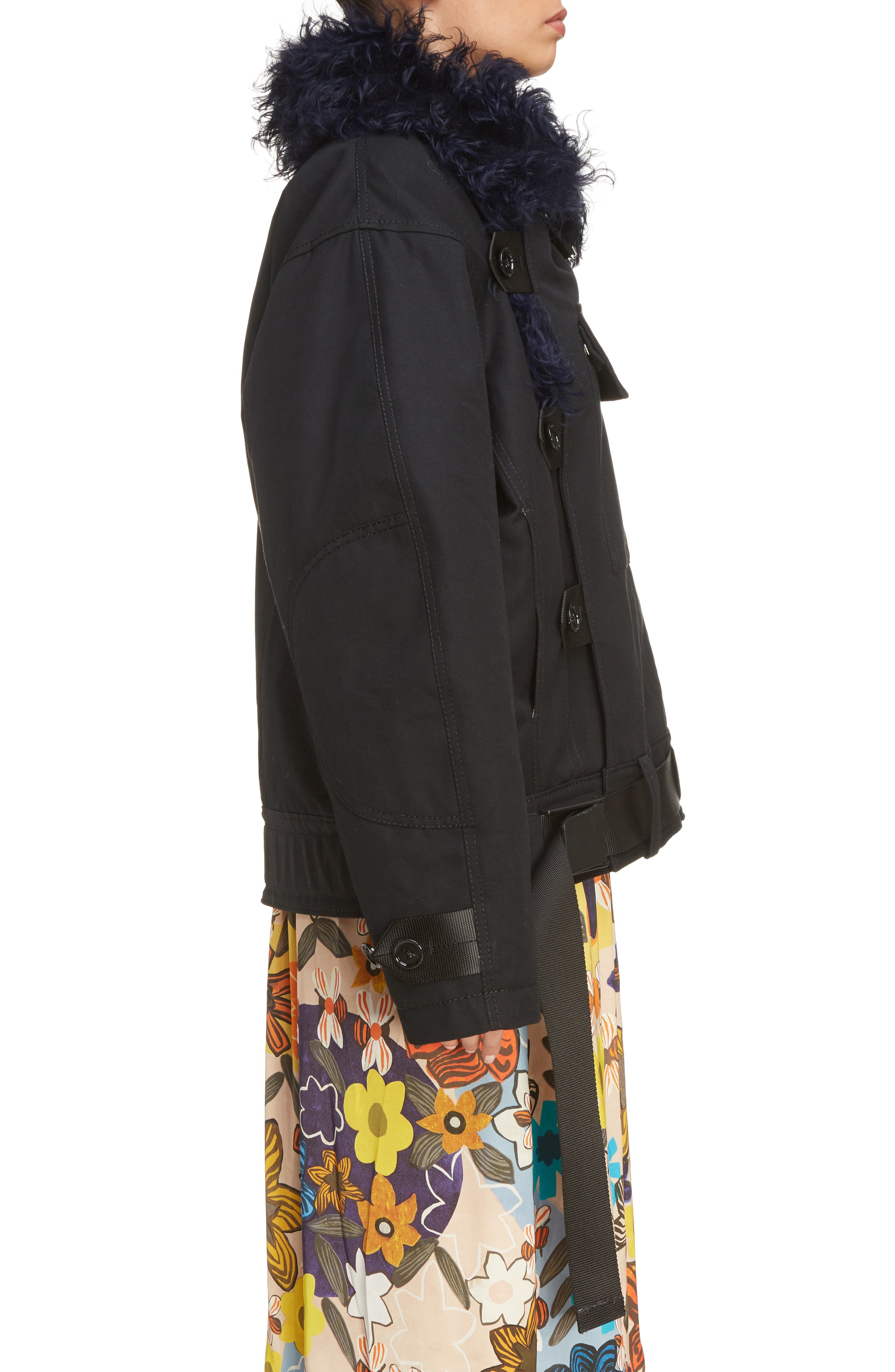 Cees Coat with Genuine Shearling Trim,                             Alternate thumbnail 4, color,                             Black