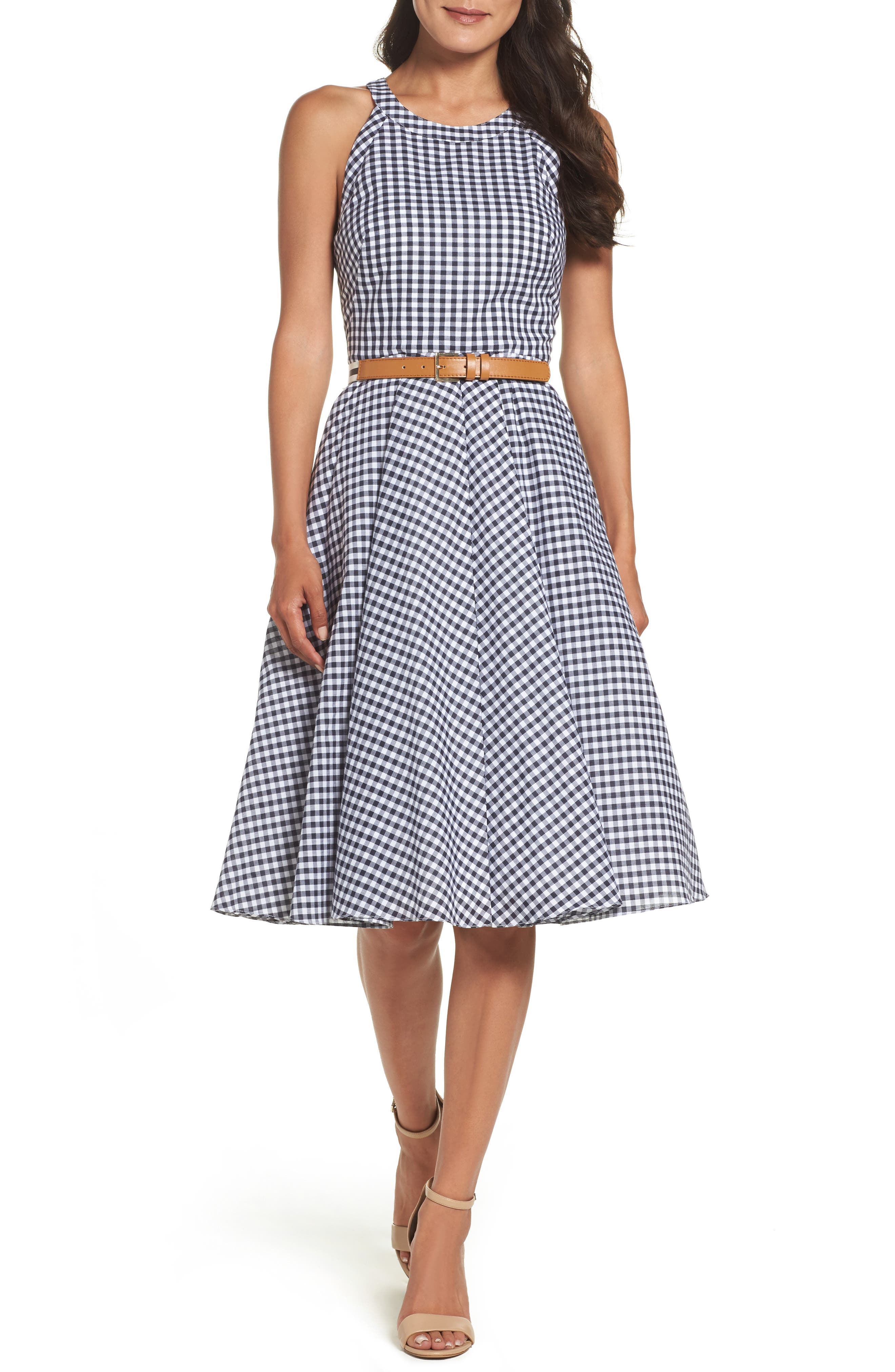 Belted Fit & Flare Dress,                             Main thumbnail 1, color,                             Navy/ Ivory