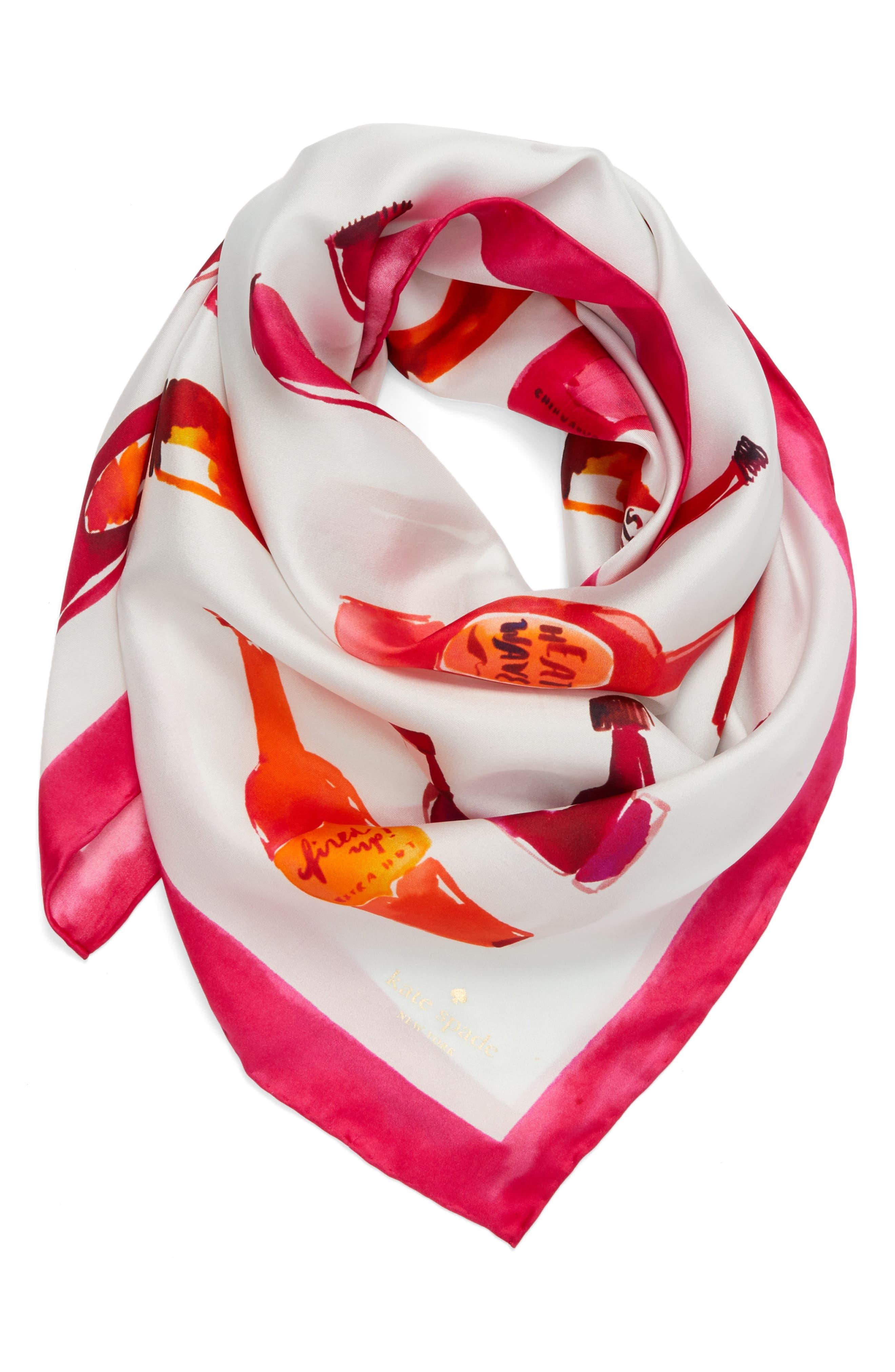 hot sauce square silk scarf,                             Alternate thumbnail 3, color,                             Cream