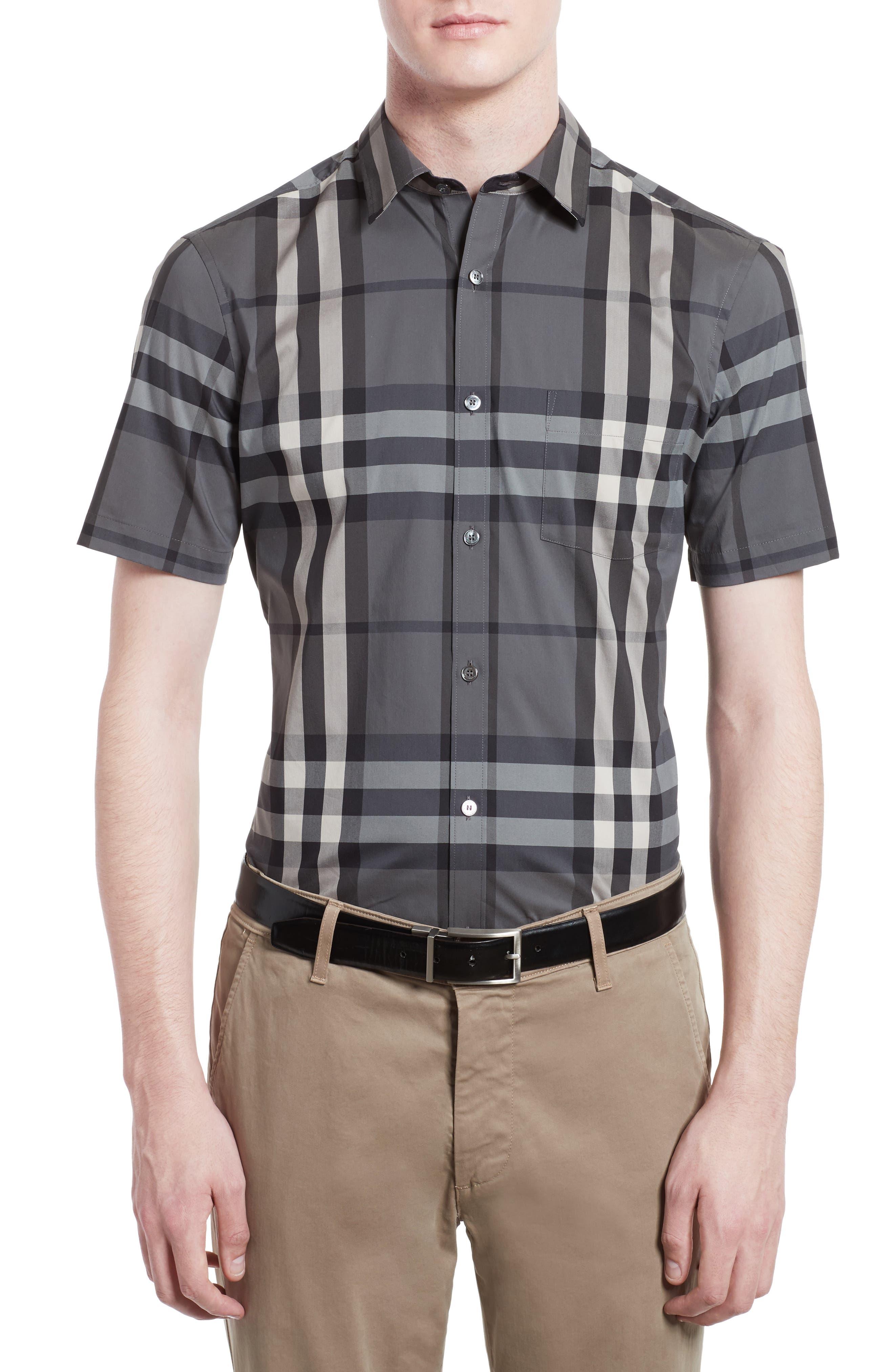 Burberry Brit 'Nelson' Trim Fit Short Sleeve Sport Shirt