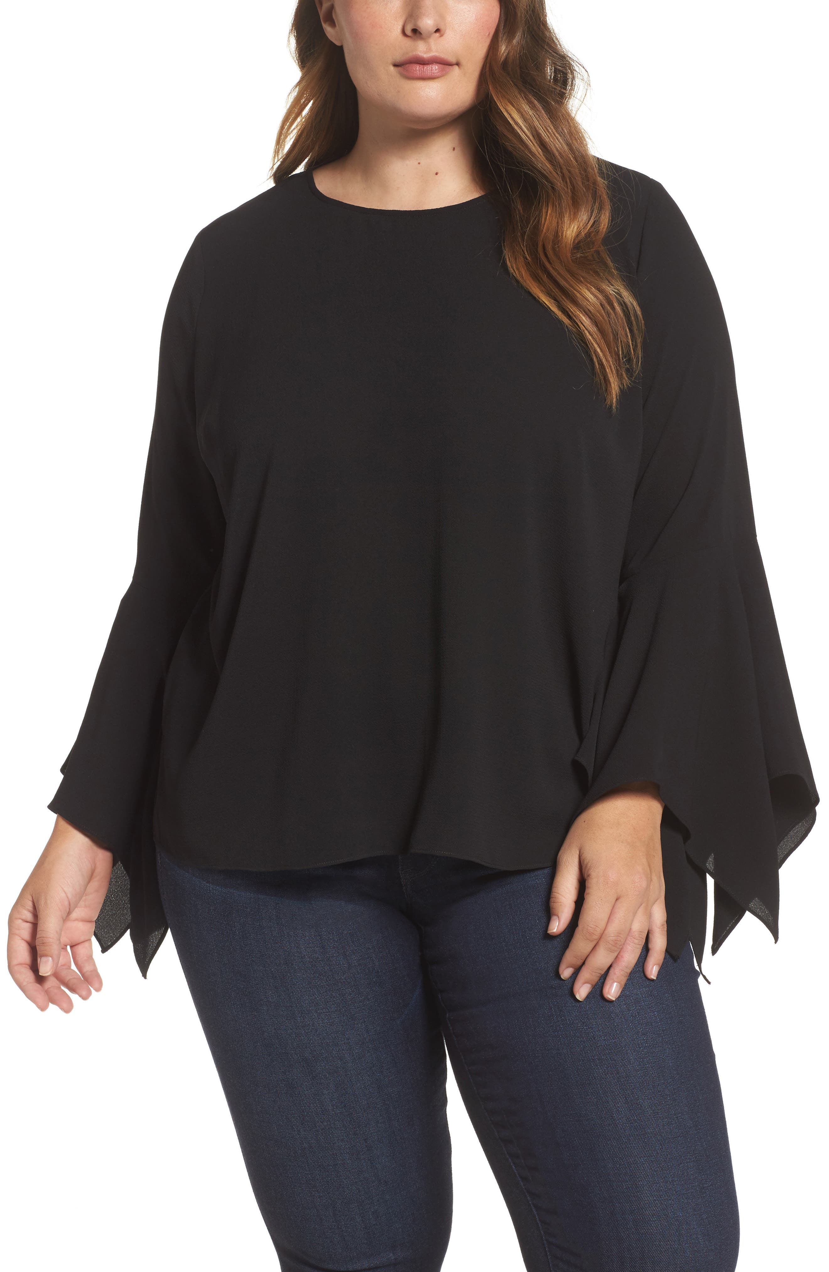 Alternate Image 1 Selected - Vince Camuto Handkerchief Sleeve Blouse (Plus Size)