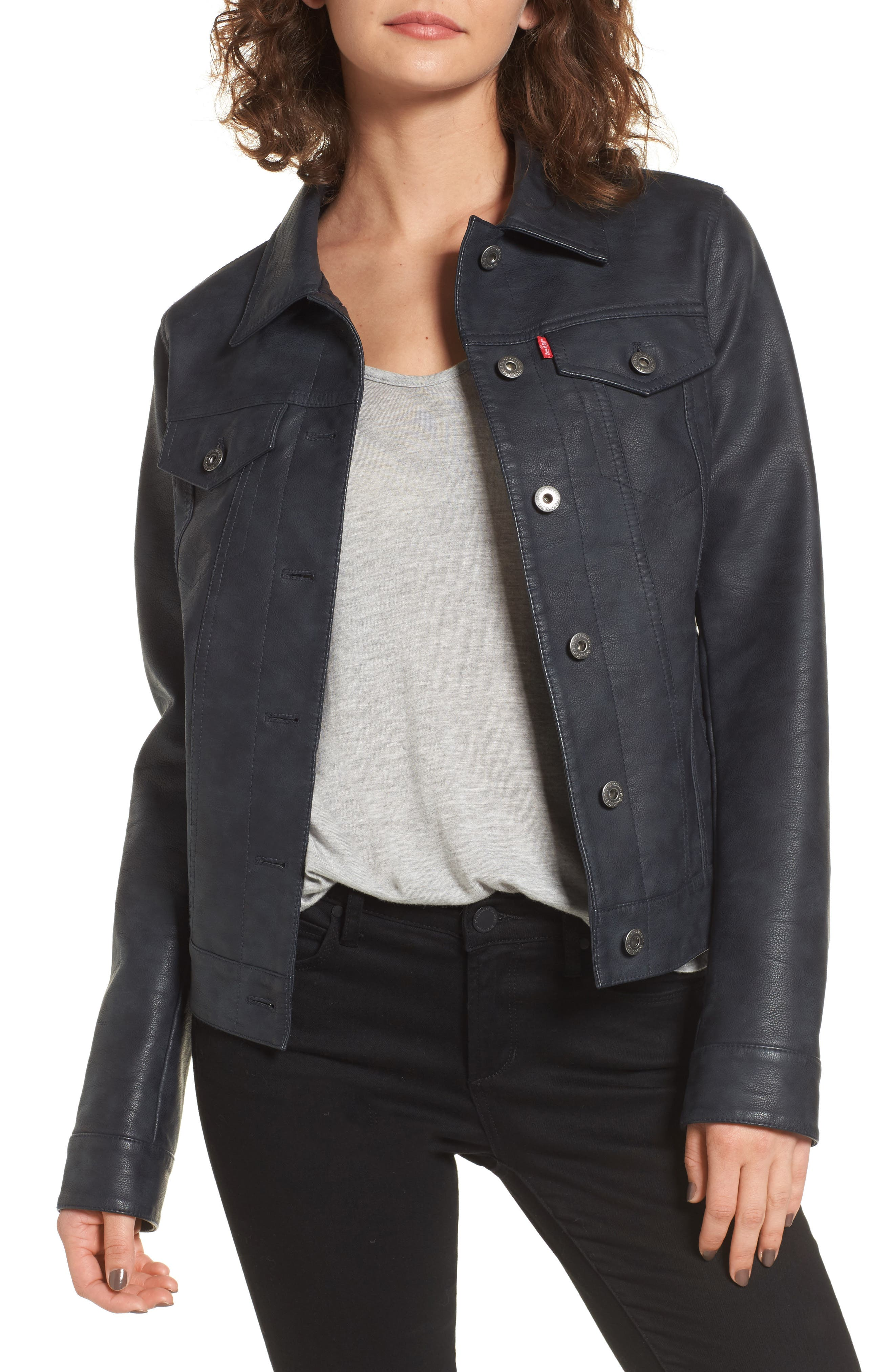 Main Image - Levi's® Faux Leather Trucker Jacket