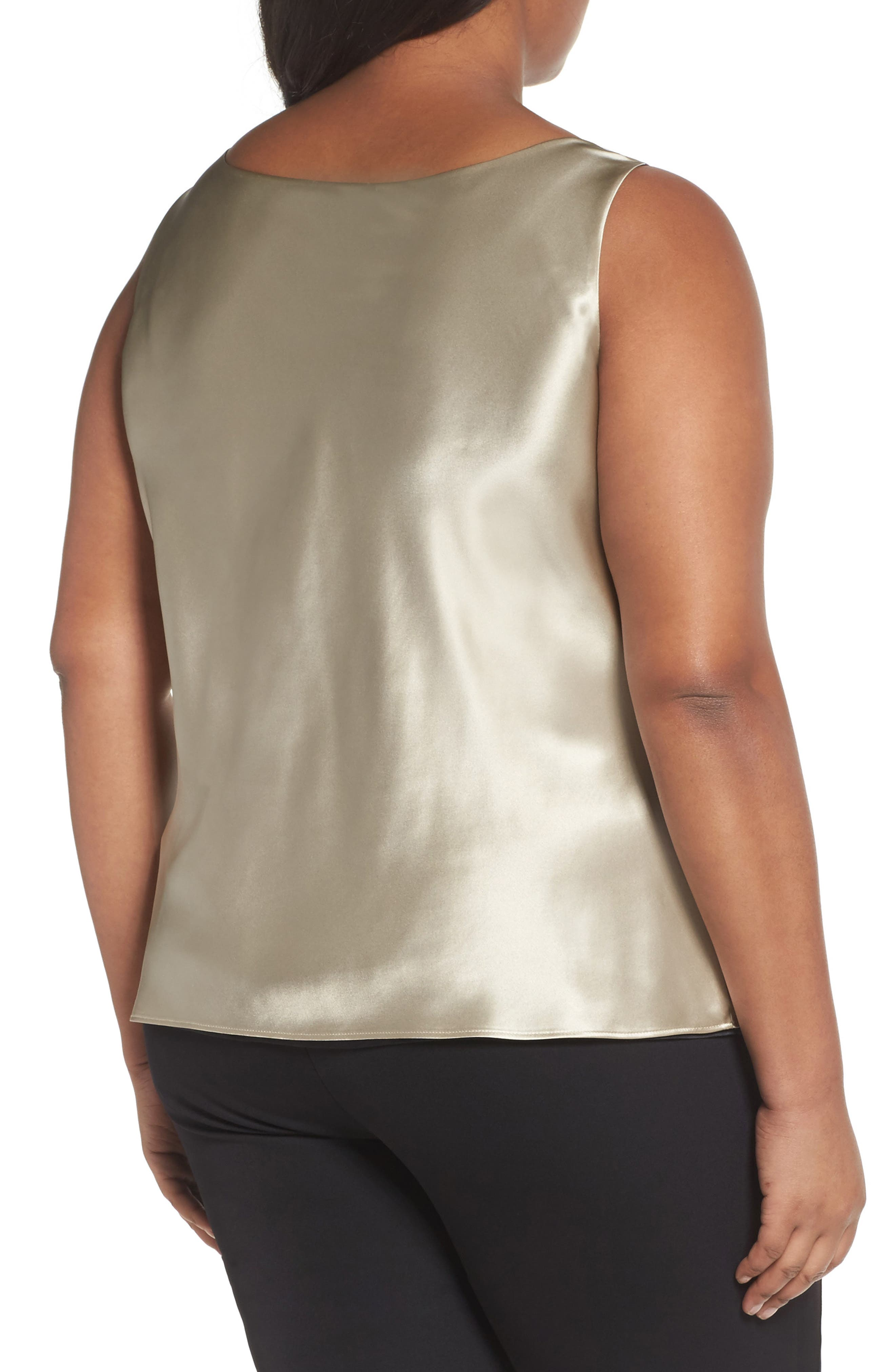 Reversible Silk Tank,                             Alternate thumbnail 2, color,                             Khaki/ Black