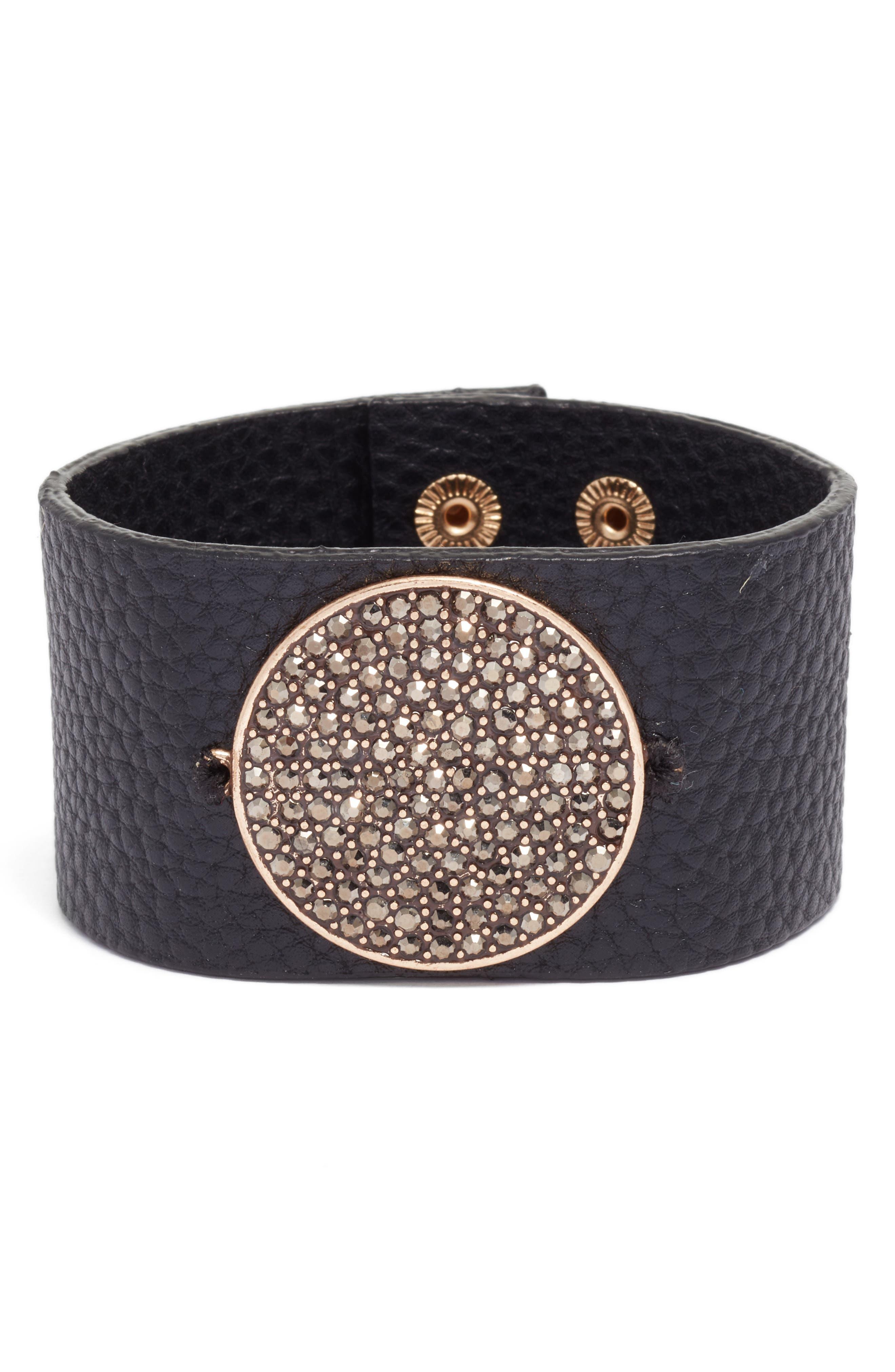 Main Image - Treasure & Bond Pavé Disc Leather Cuff