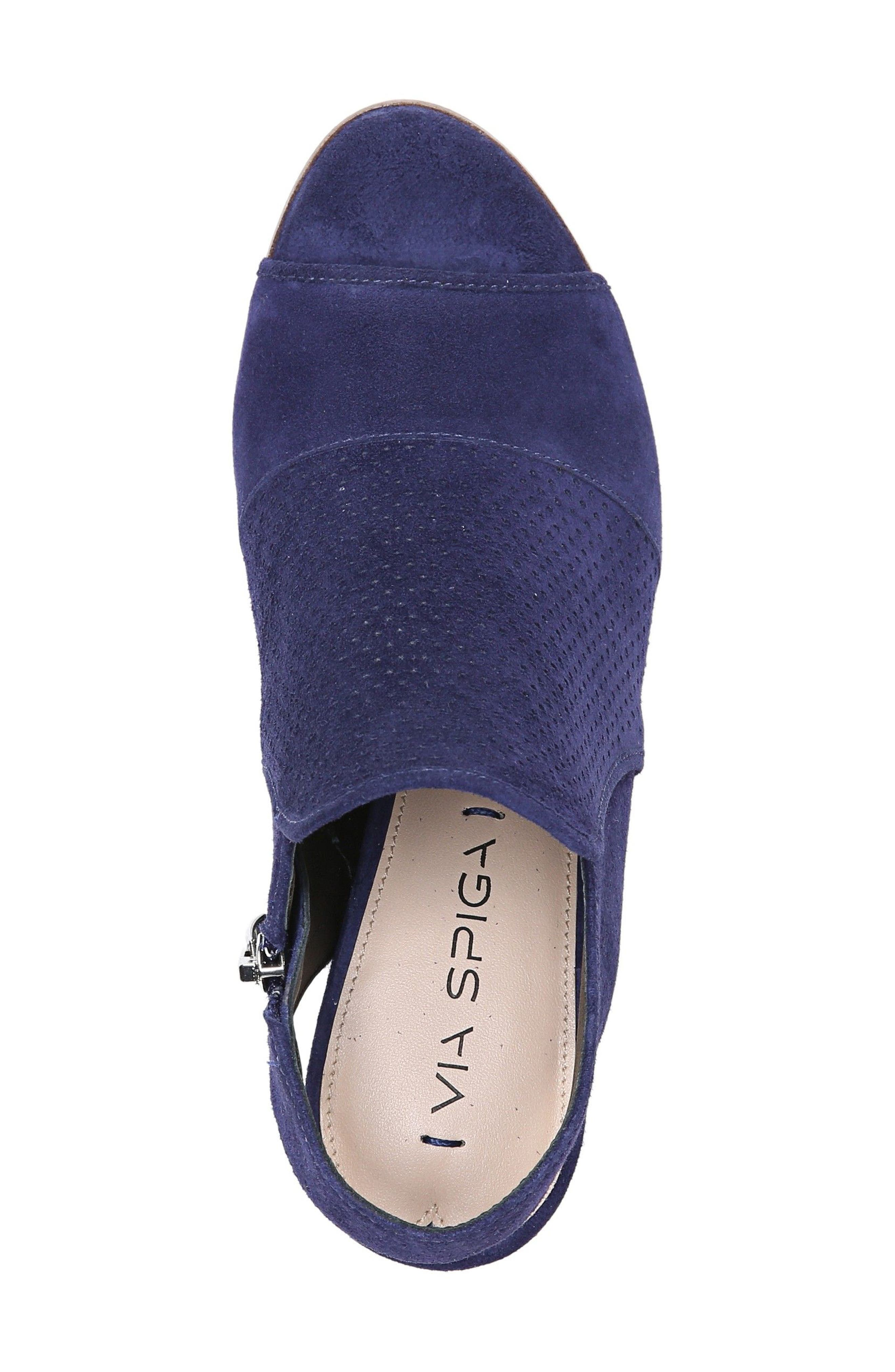 Gaze Block Heel Sandal,                             Alternate thumbnail 5, color,                             Marina Blue Suede