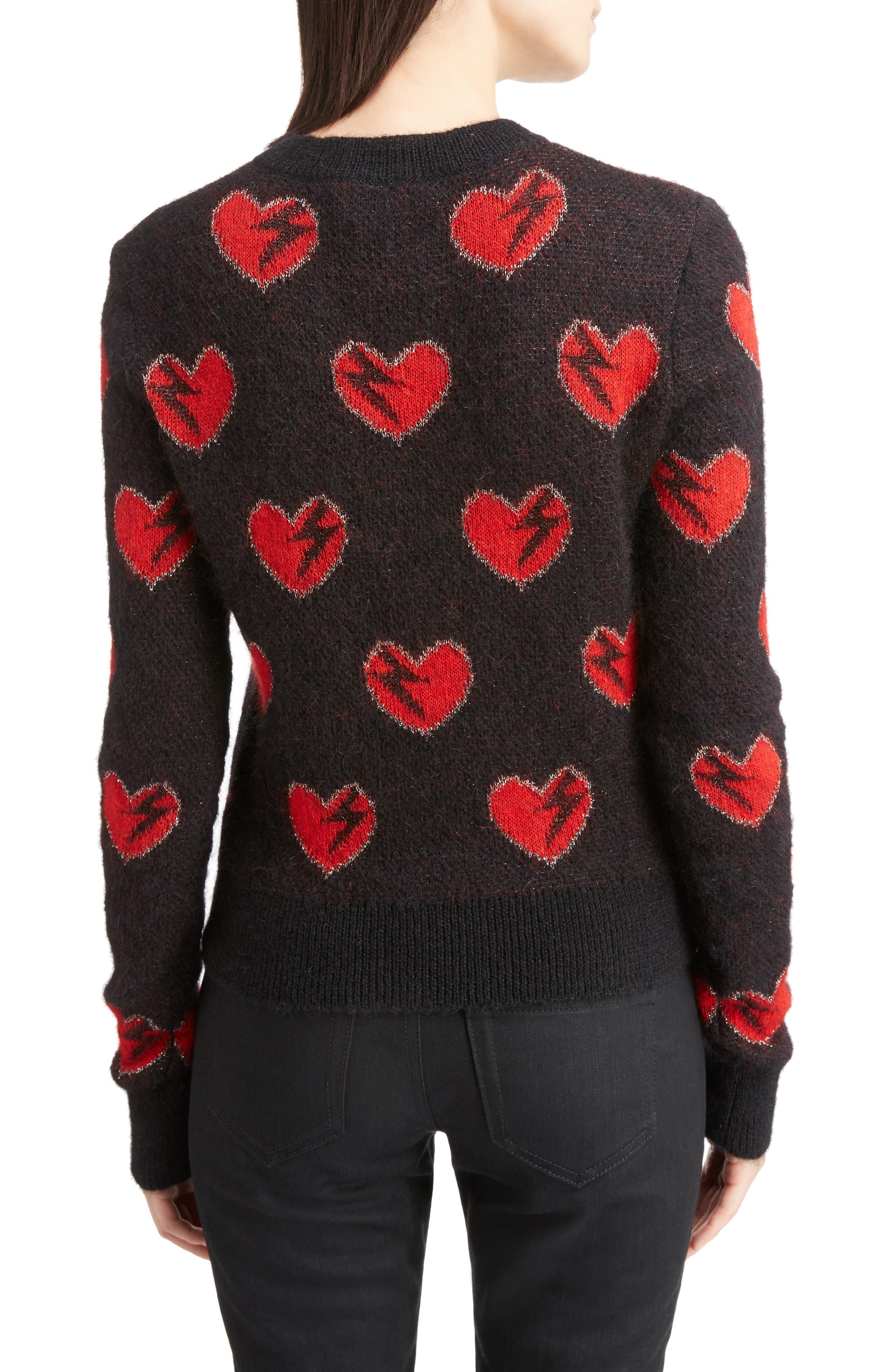 Alternate Image 2  - Saint Laurent Heart Jacquard Mohair Blend Sweater