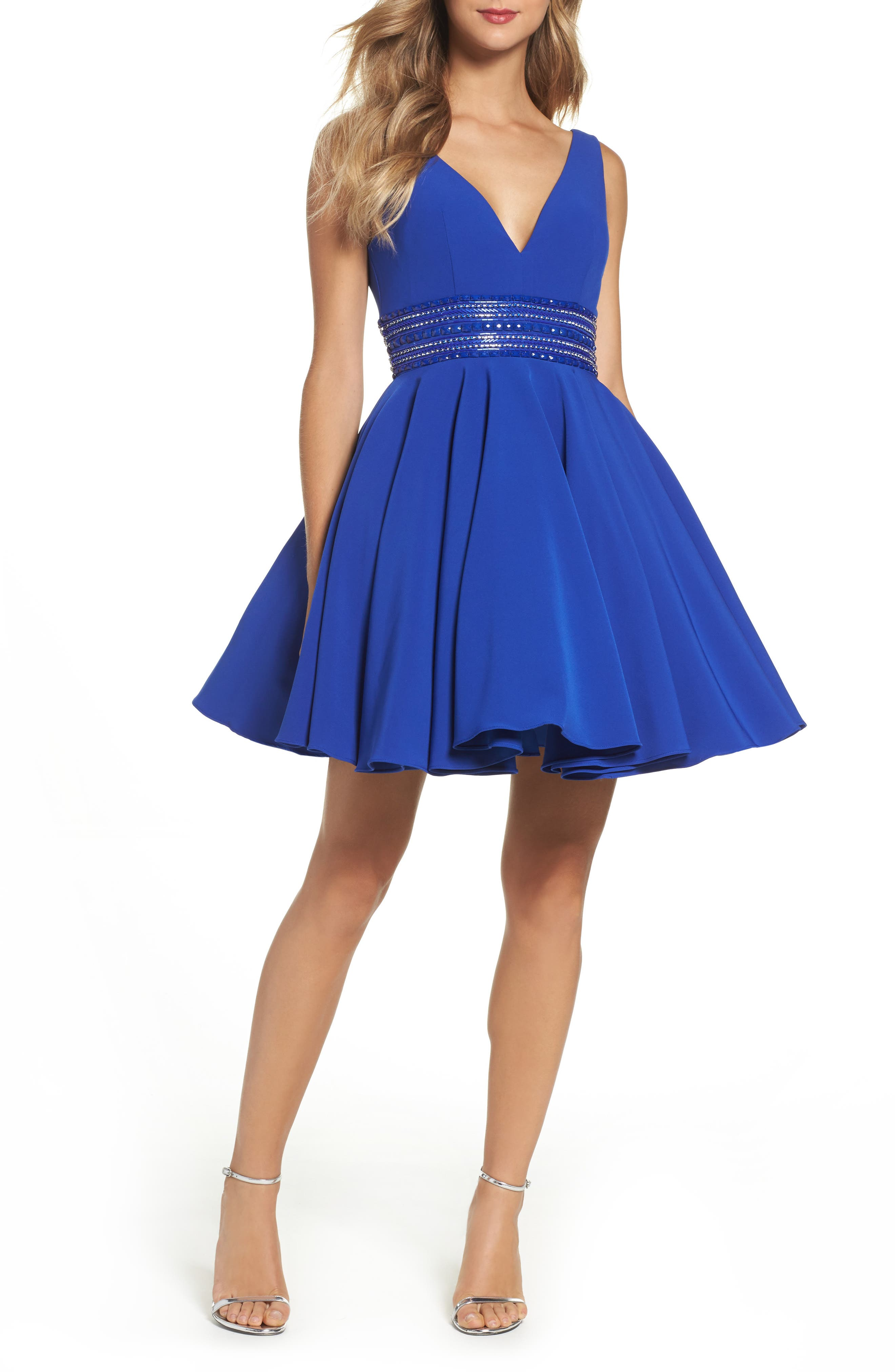 Ieena for Mac Duggal Embellished Fit & Flare Dress