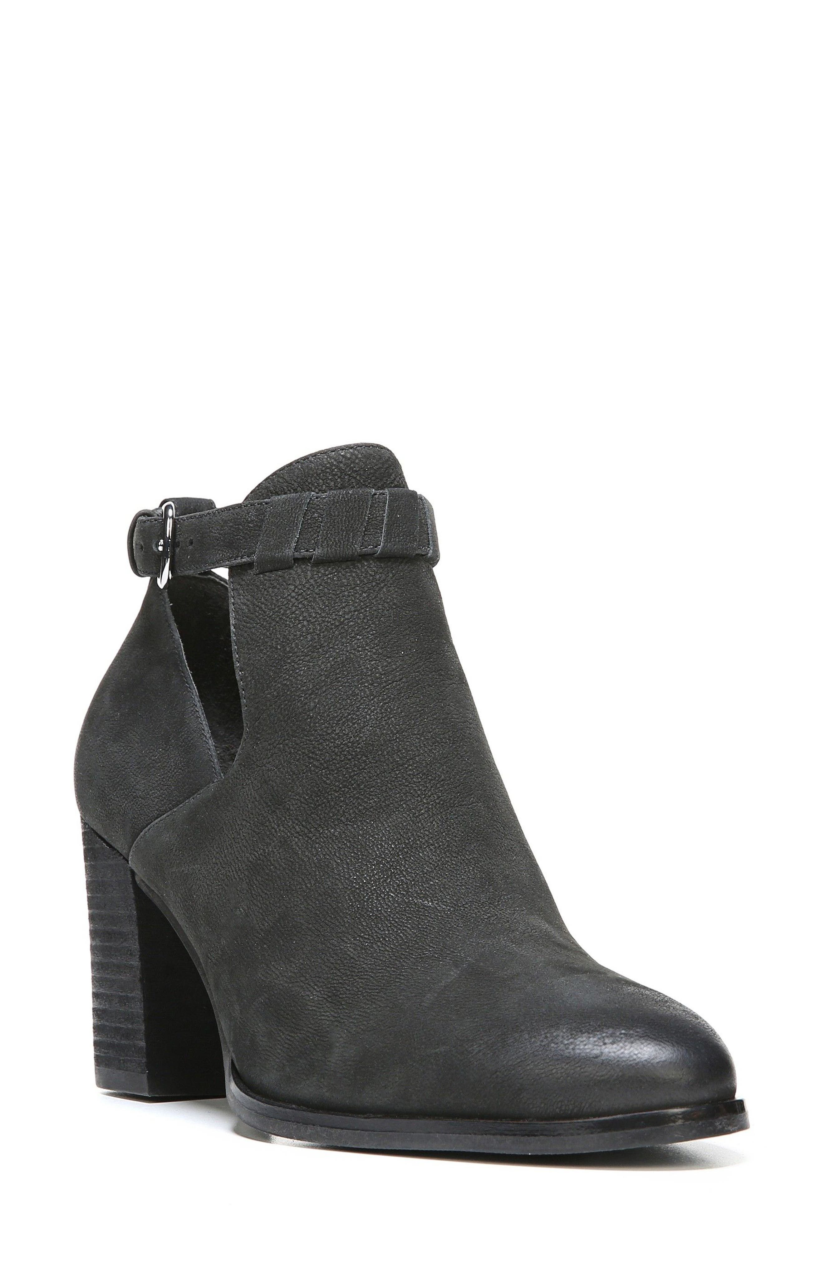 Samantha Block Heel Bootie,                         Main,                         color, Black Nubuck