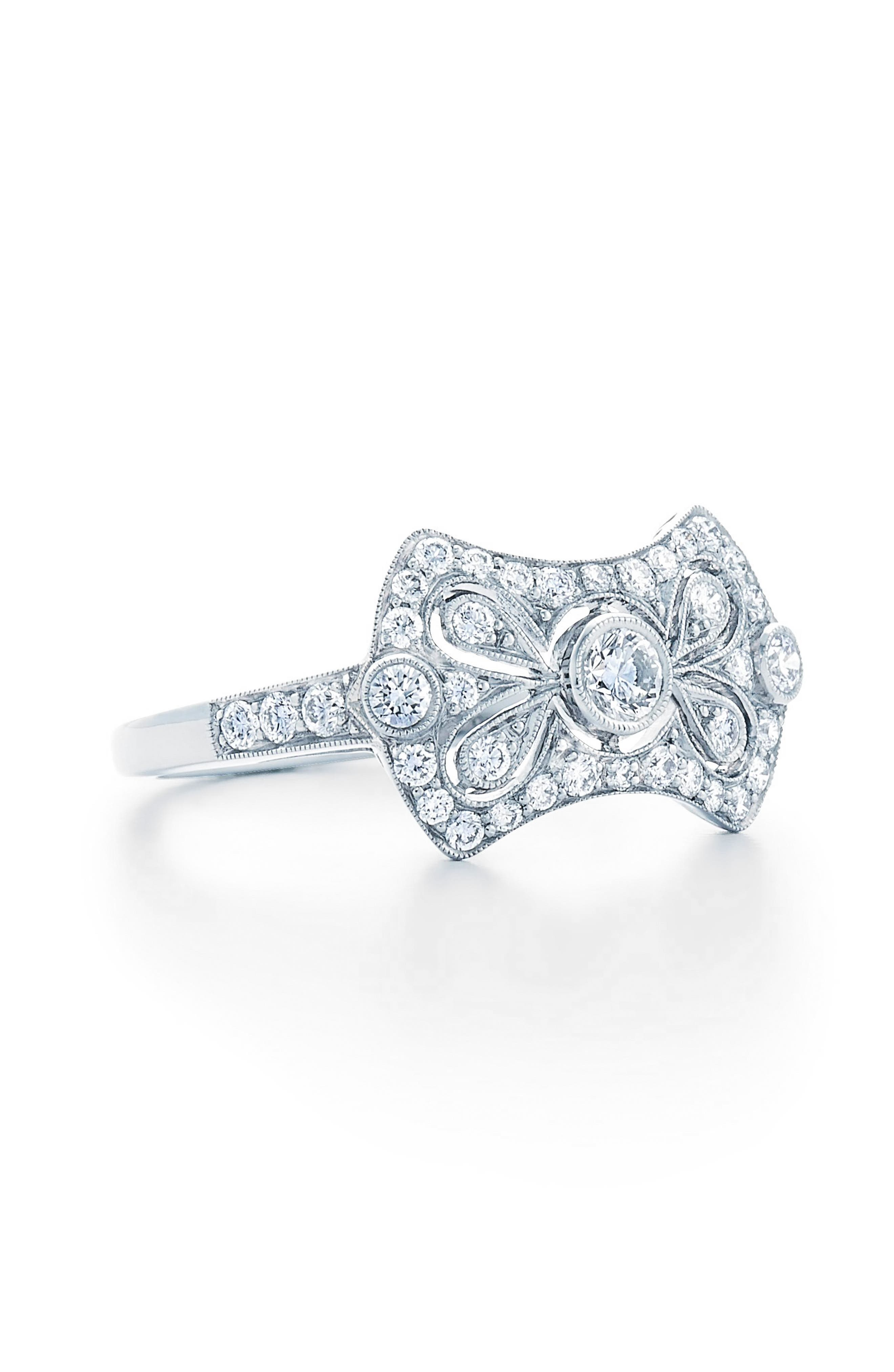 Vintage Bow Diamond Ring,                             Main thumbnail 1, color,                             White Gold