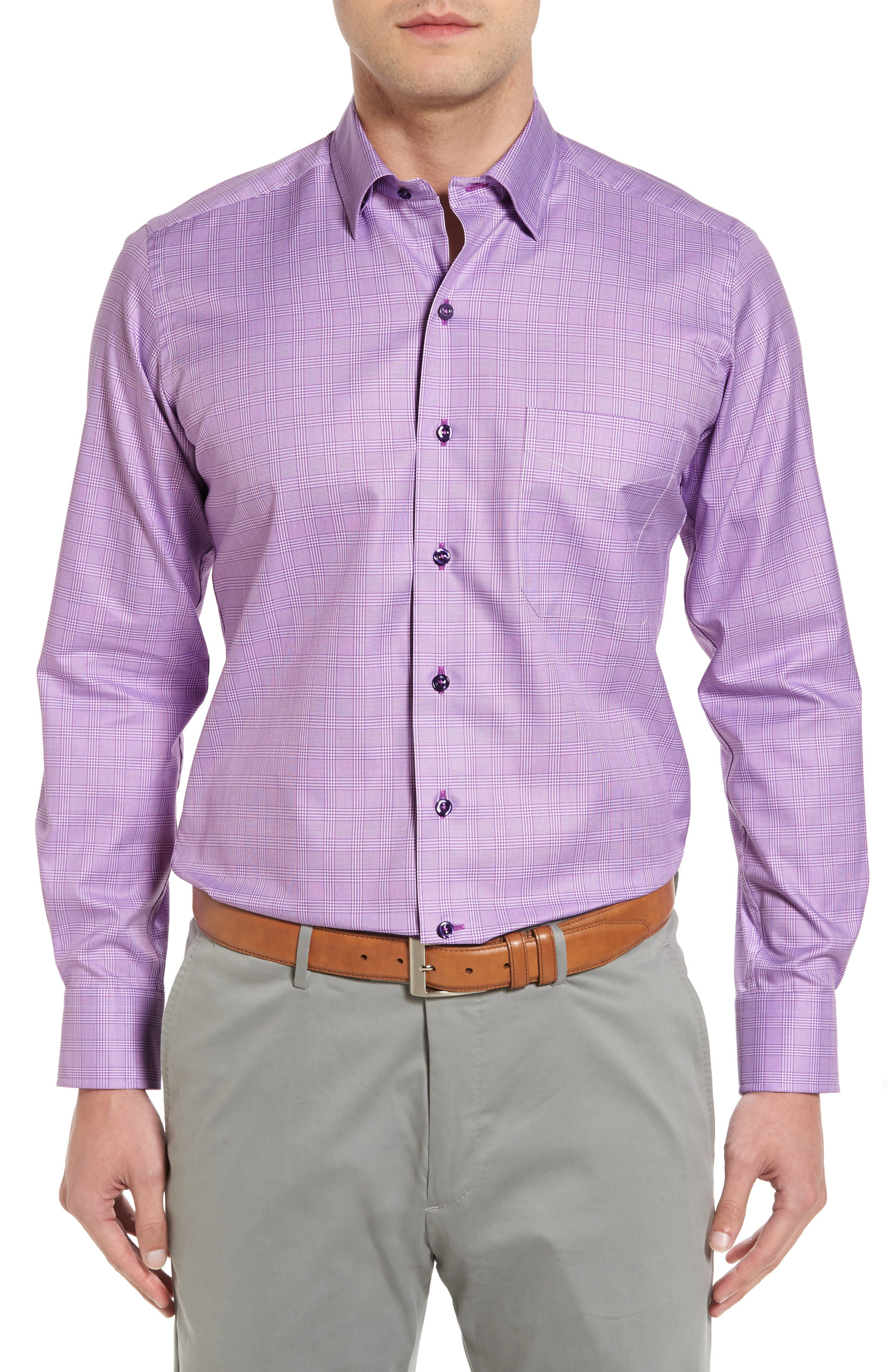 Regular Fit Plaid Sport Shirt,                             Main thumbnail 1, color,                             Lilac